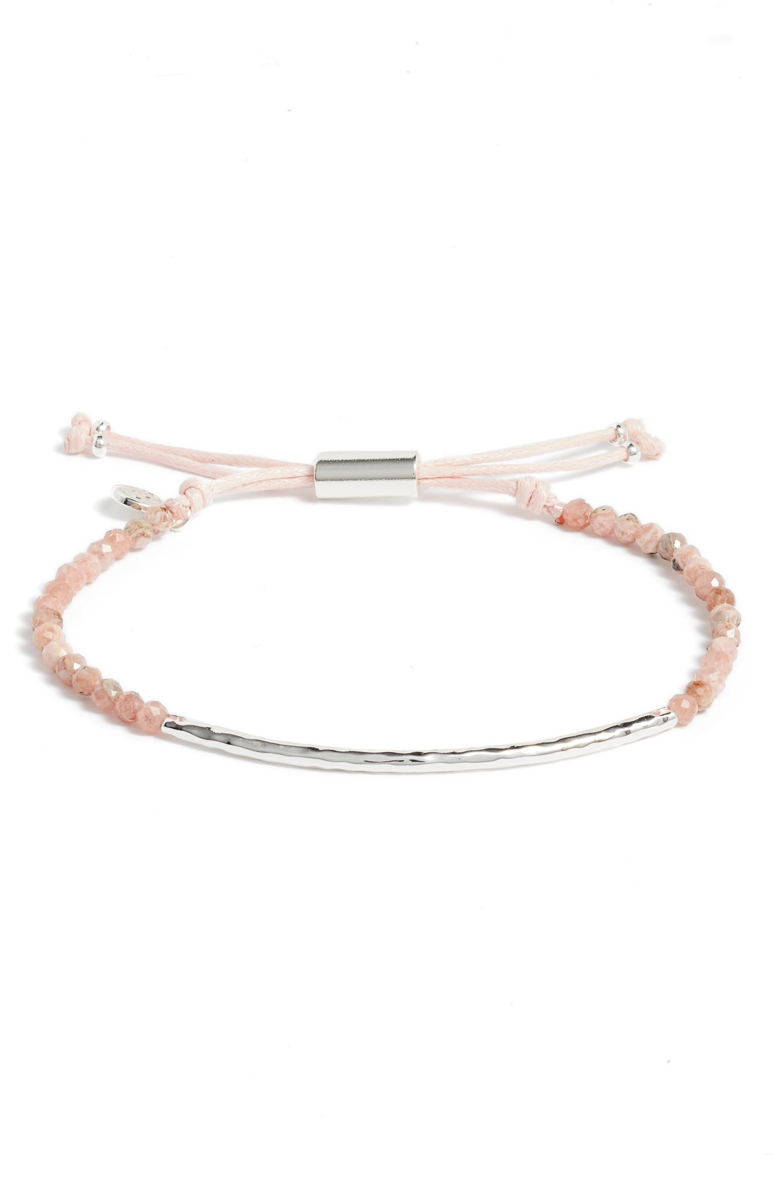 Compassion Gemstone Bracelet,                             Main thumbnail 1, color,                             Rhodocrosite/ Silver