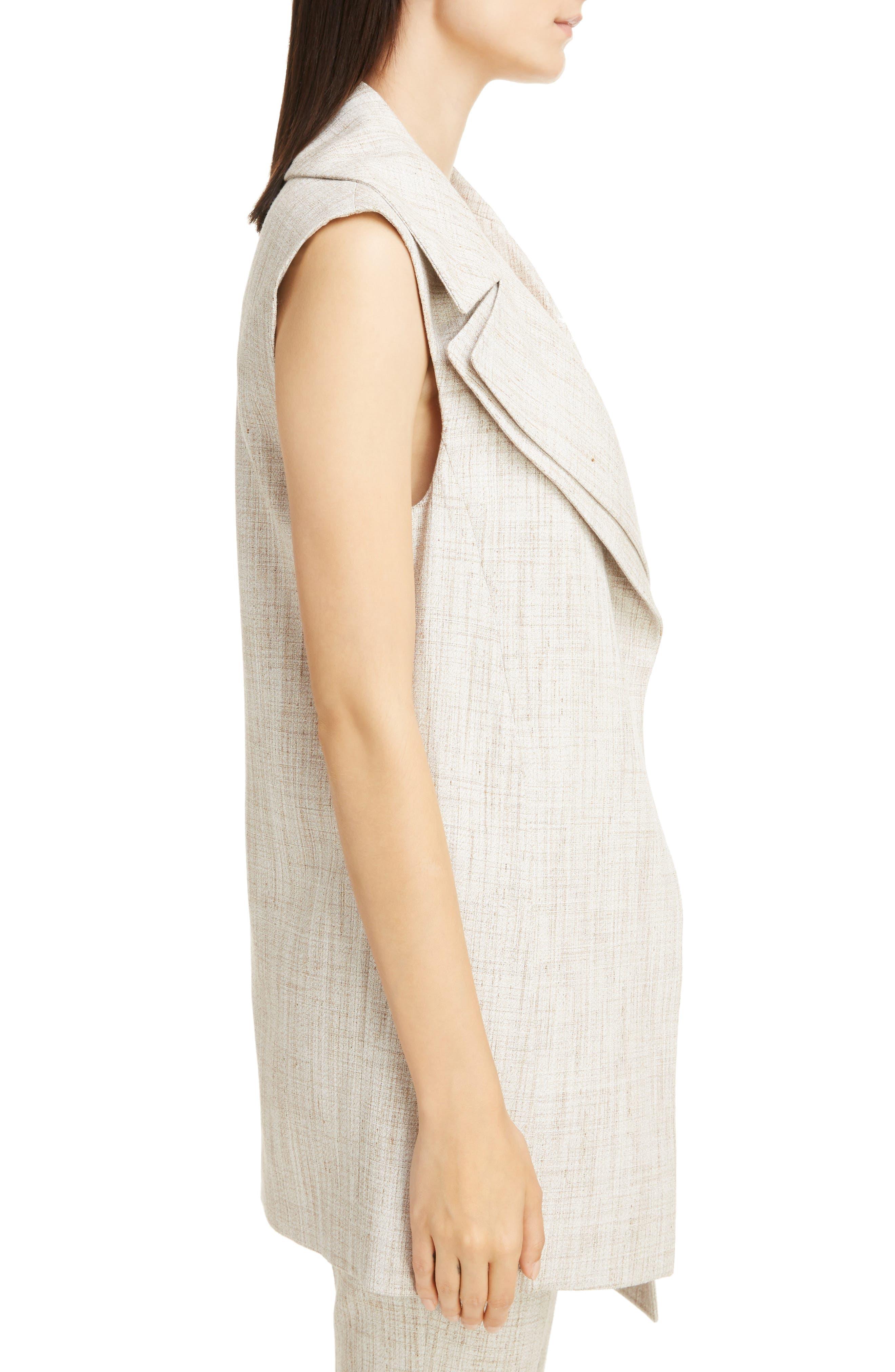 Asymmetrical Tweed Vest,                             Alternate thumbnail 3, color,                             White-Beige