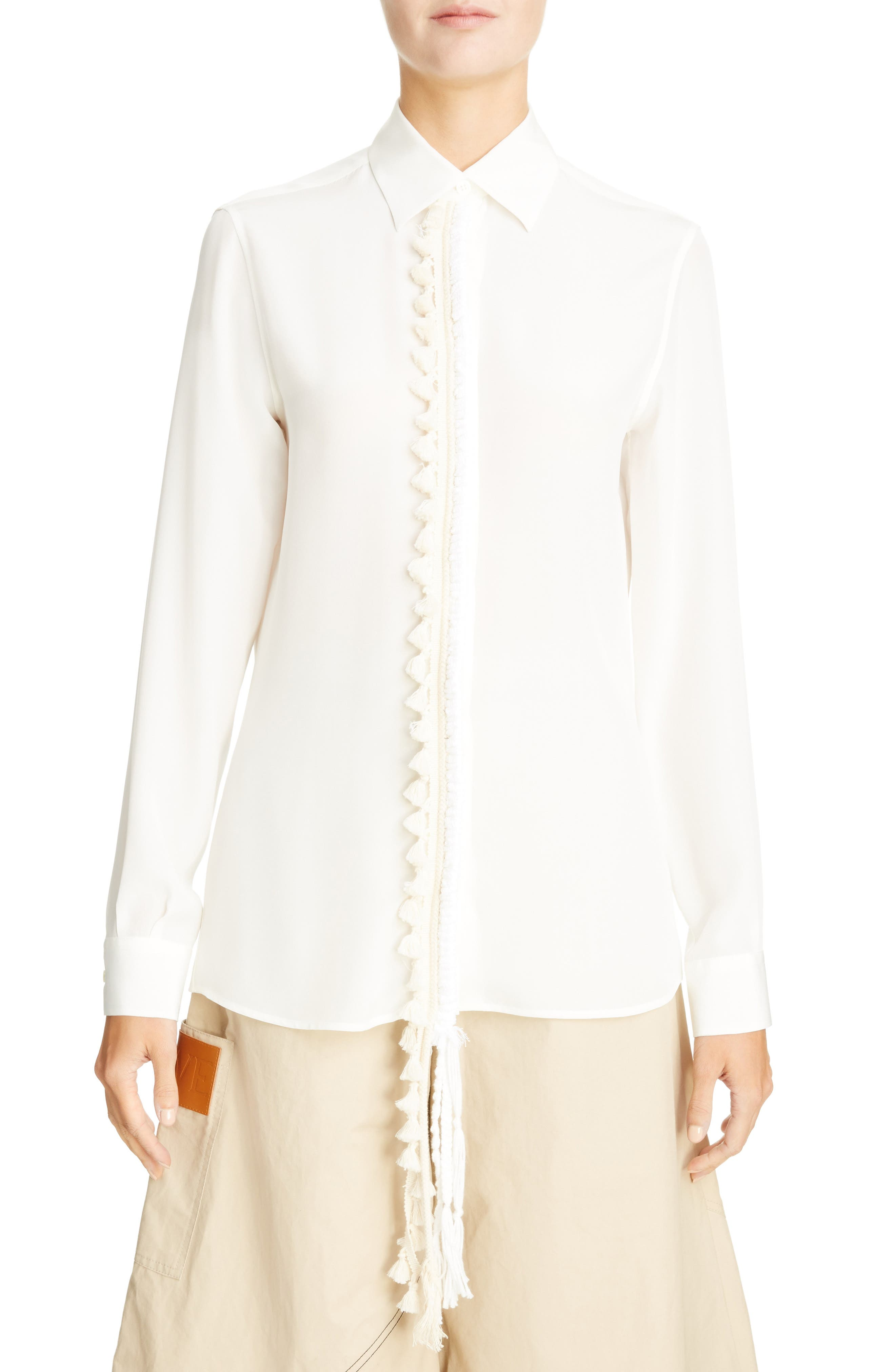 Tassel Placket Silk Shirt,                         Main,                         color, White