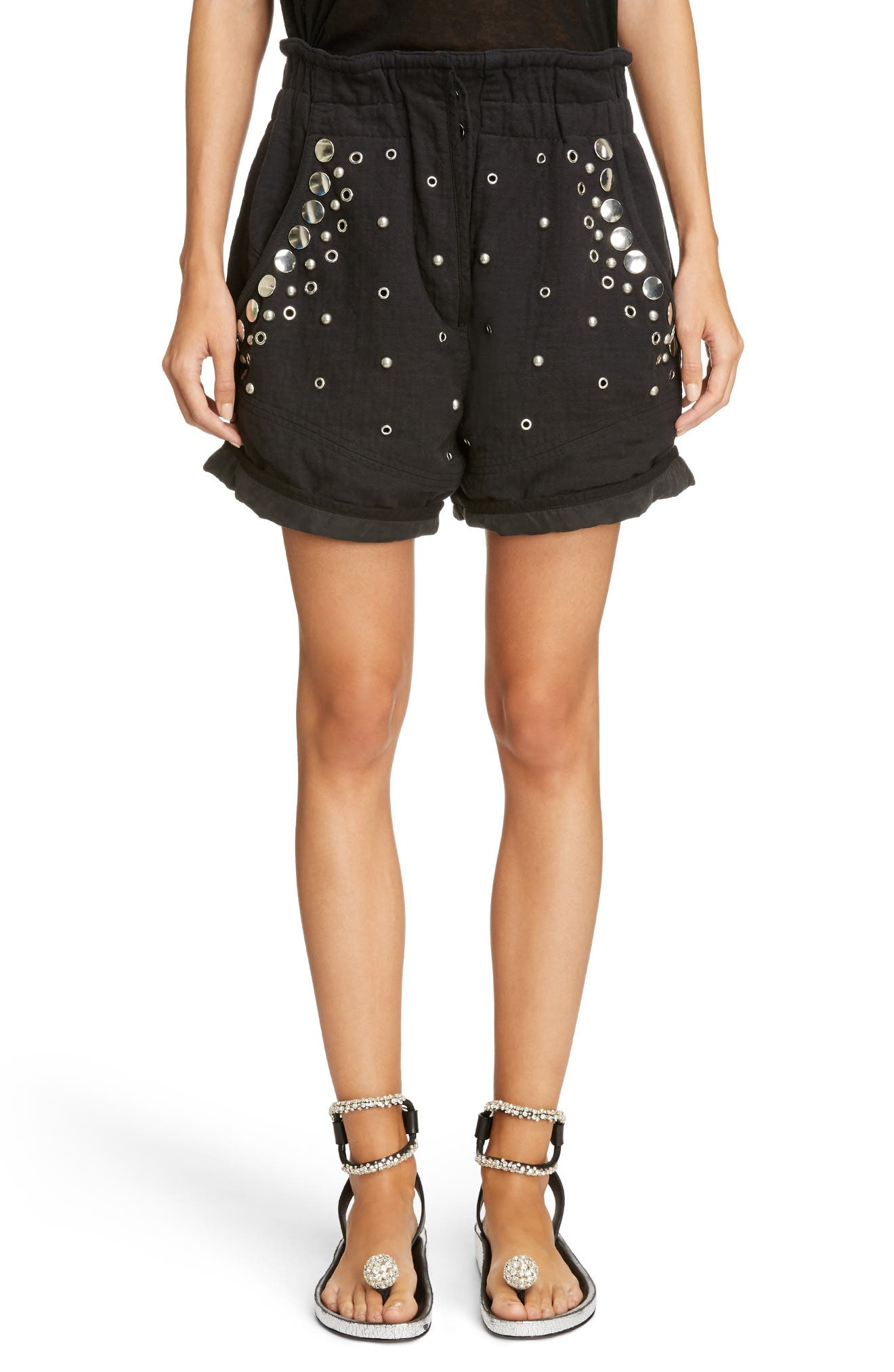 Grommet & Stud Shorts,                         Main,                         color, Faded Black