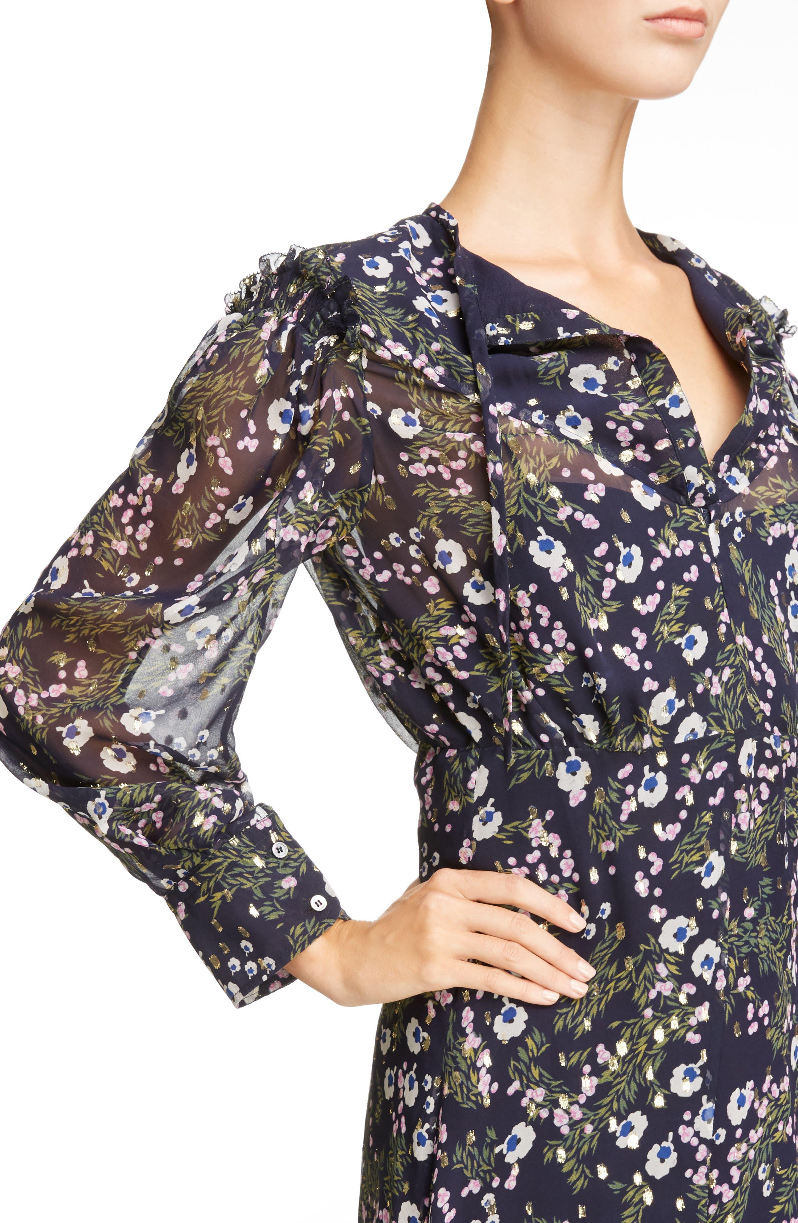 Metallic Bloom Silk Maxi Dress,                             Alternate thumbnail 4, color,                             Midnight