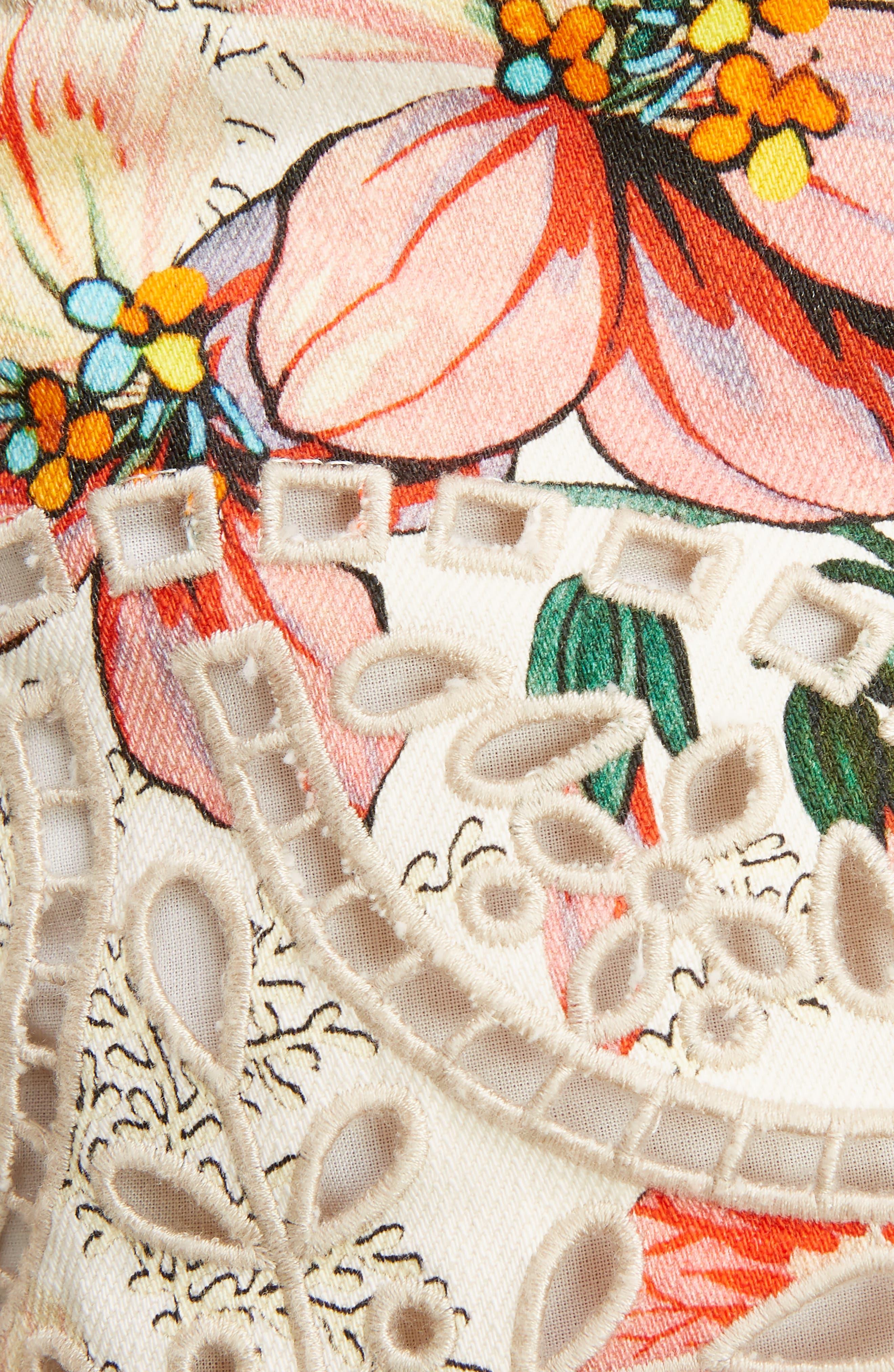 Hawaiian Print Miniskirt,                             Alternate thumbnail 6, color,                             Ecru