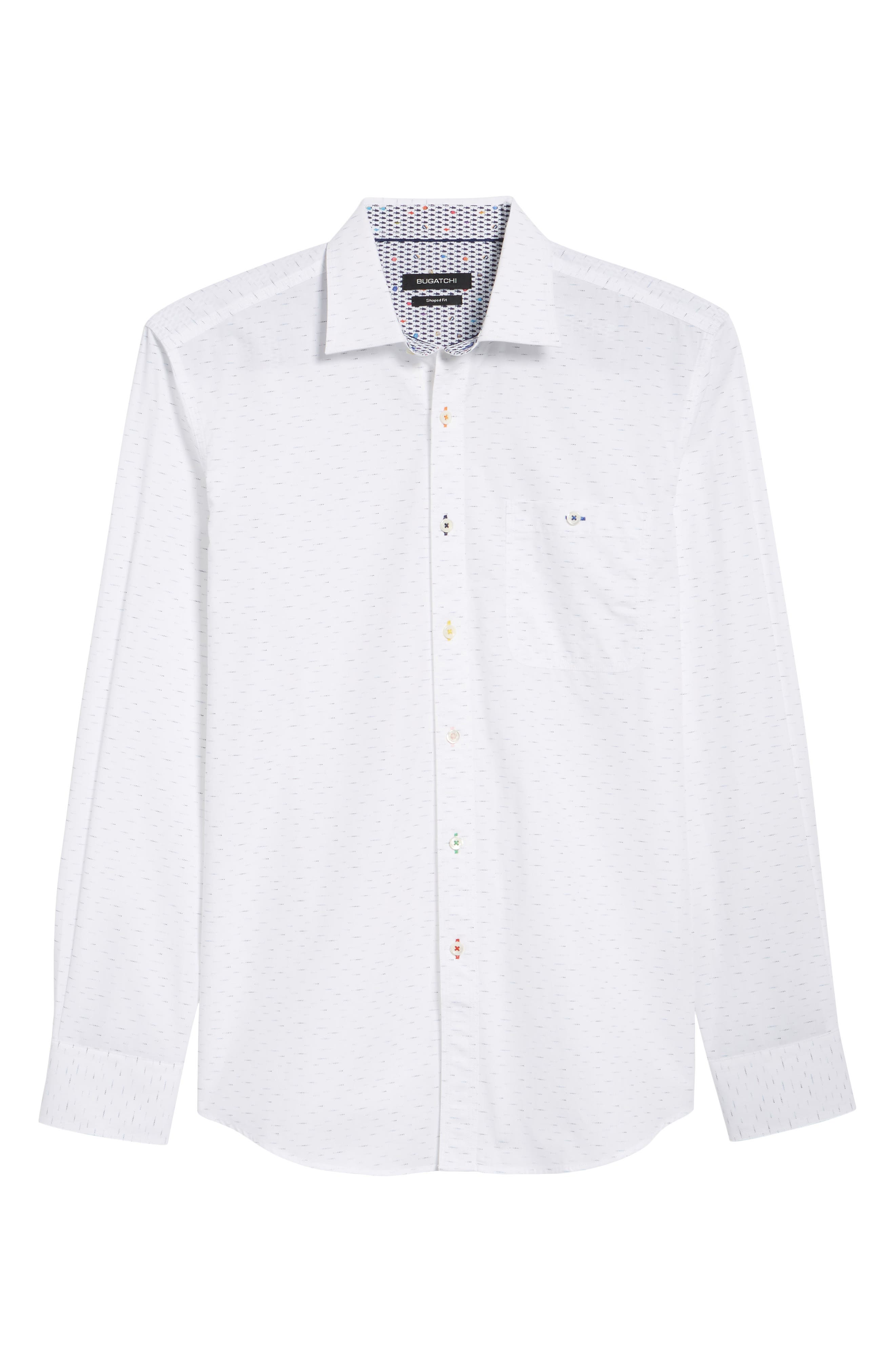 Dots Etc. Shaped Fit Sport Shirt,                             Alternate thumbnail 6, color,                             Chalk