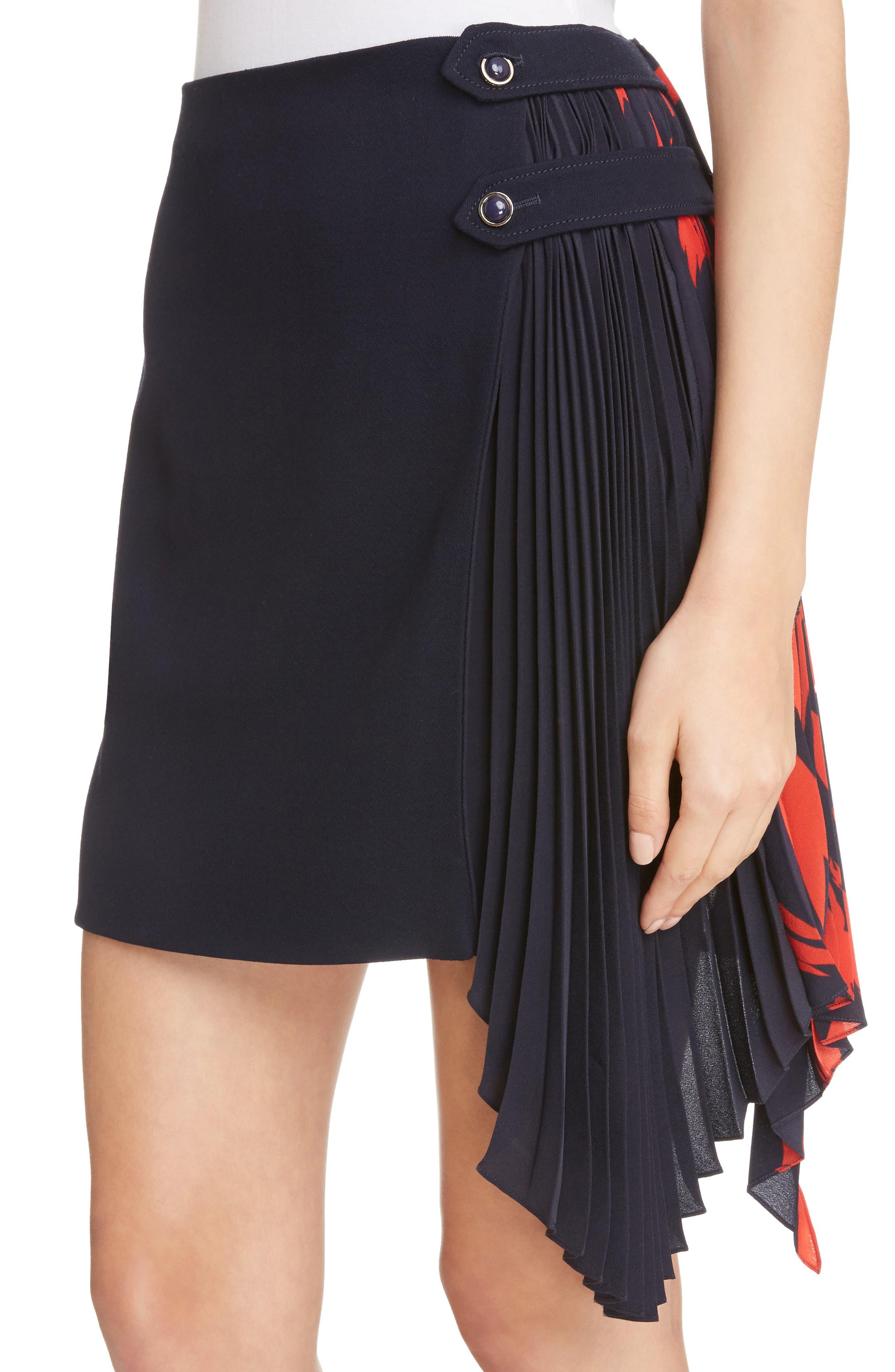 Pleat Panel Wool Skirt,                             Alternate thumbnail 5, color,                             Navy/ Red