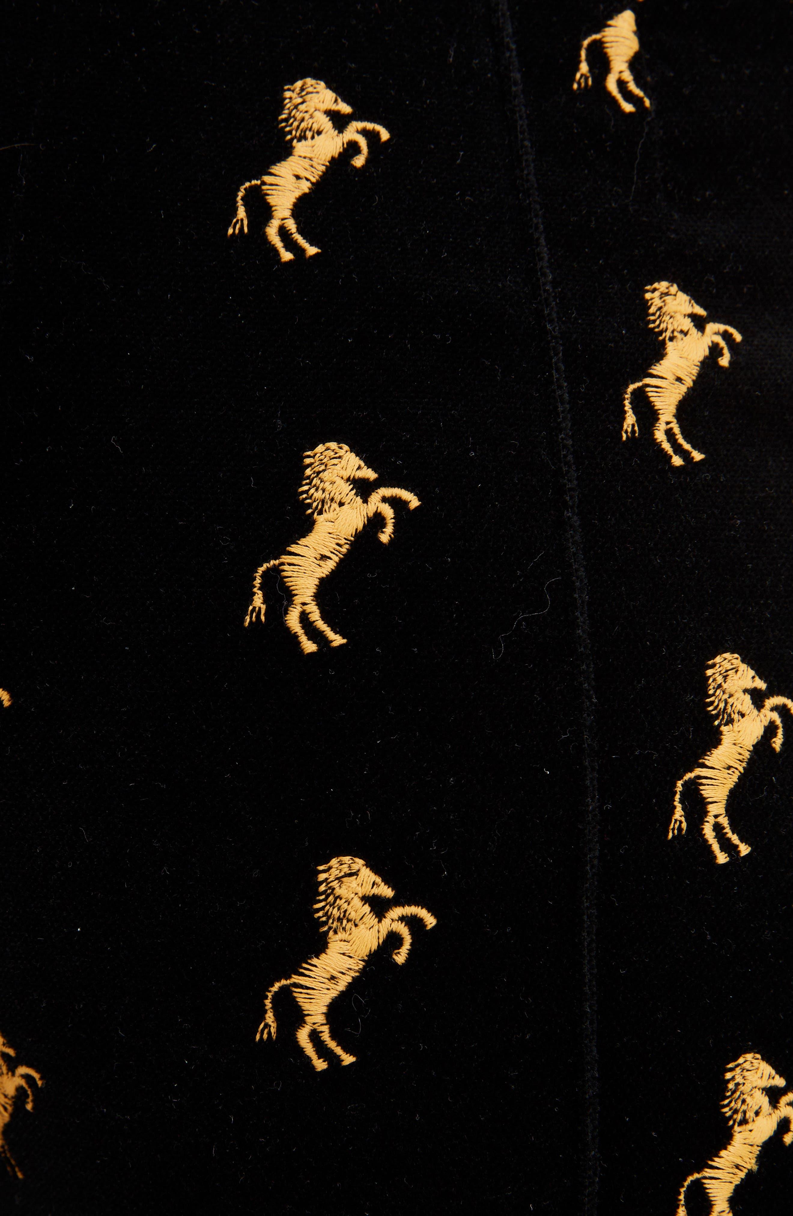 Horse Embroidered Velvet Pants,                             Alternate thumbnail 5, color,                             Black