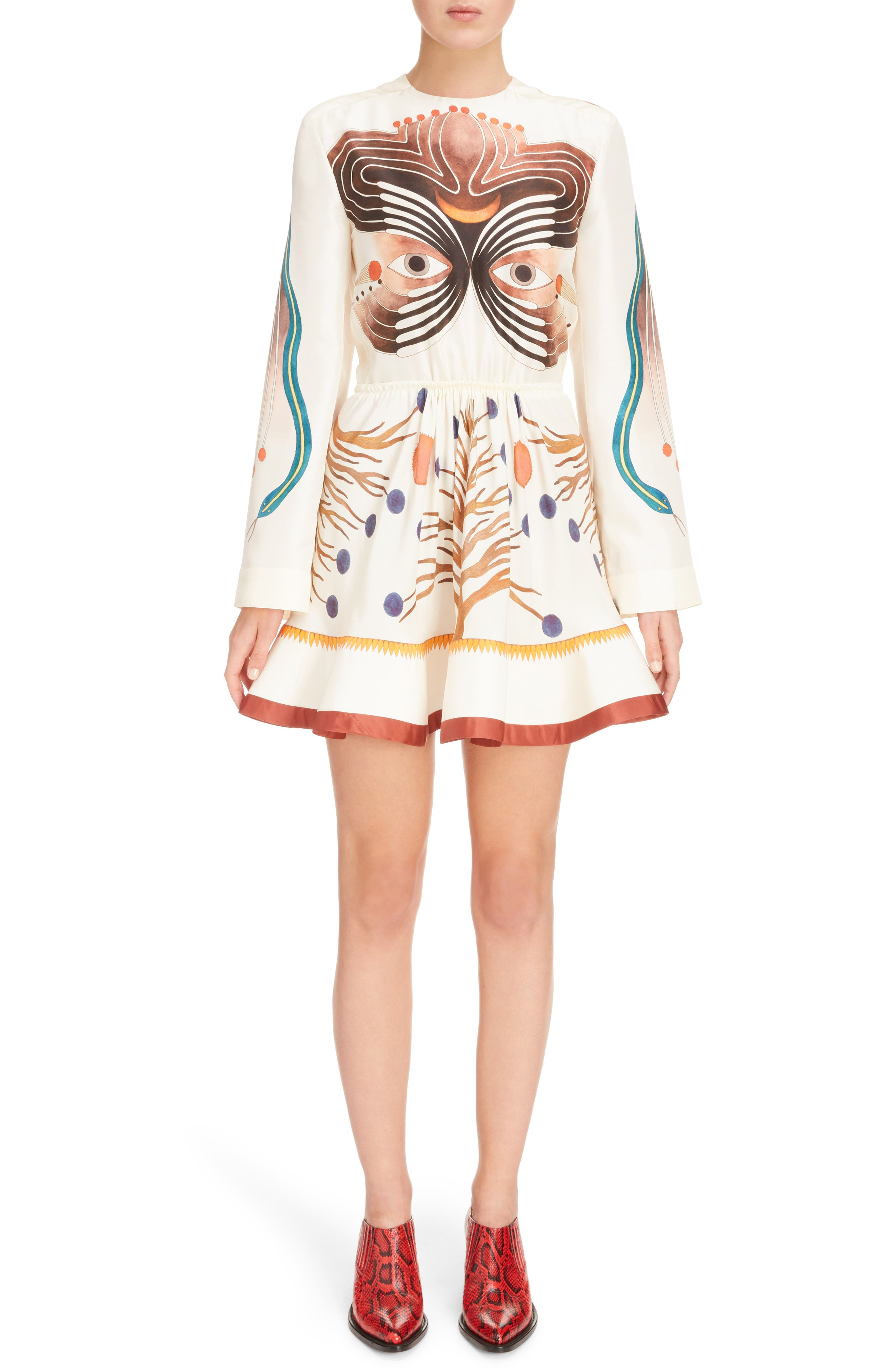 Chloé Graphic Print Silk Fit & Flare Dress
