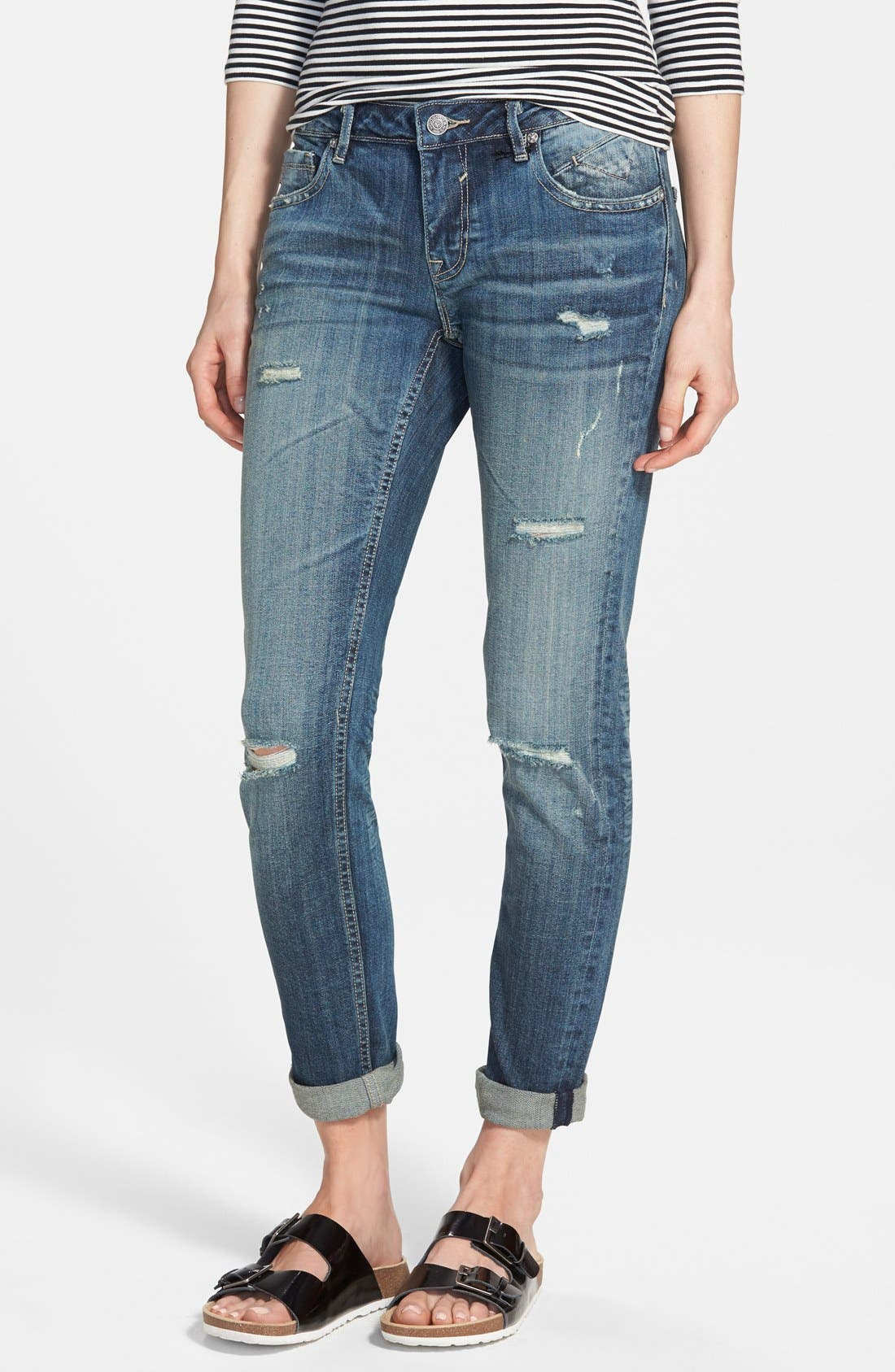 'Tomboy' Destroyed Skinny Jeans,                             Main thumbnail 1, color,                             Medium Wash