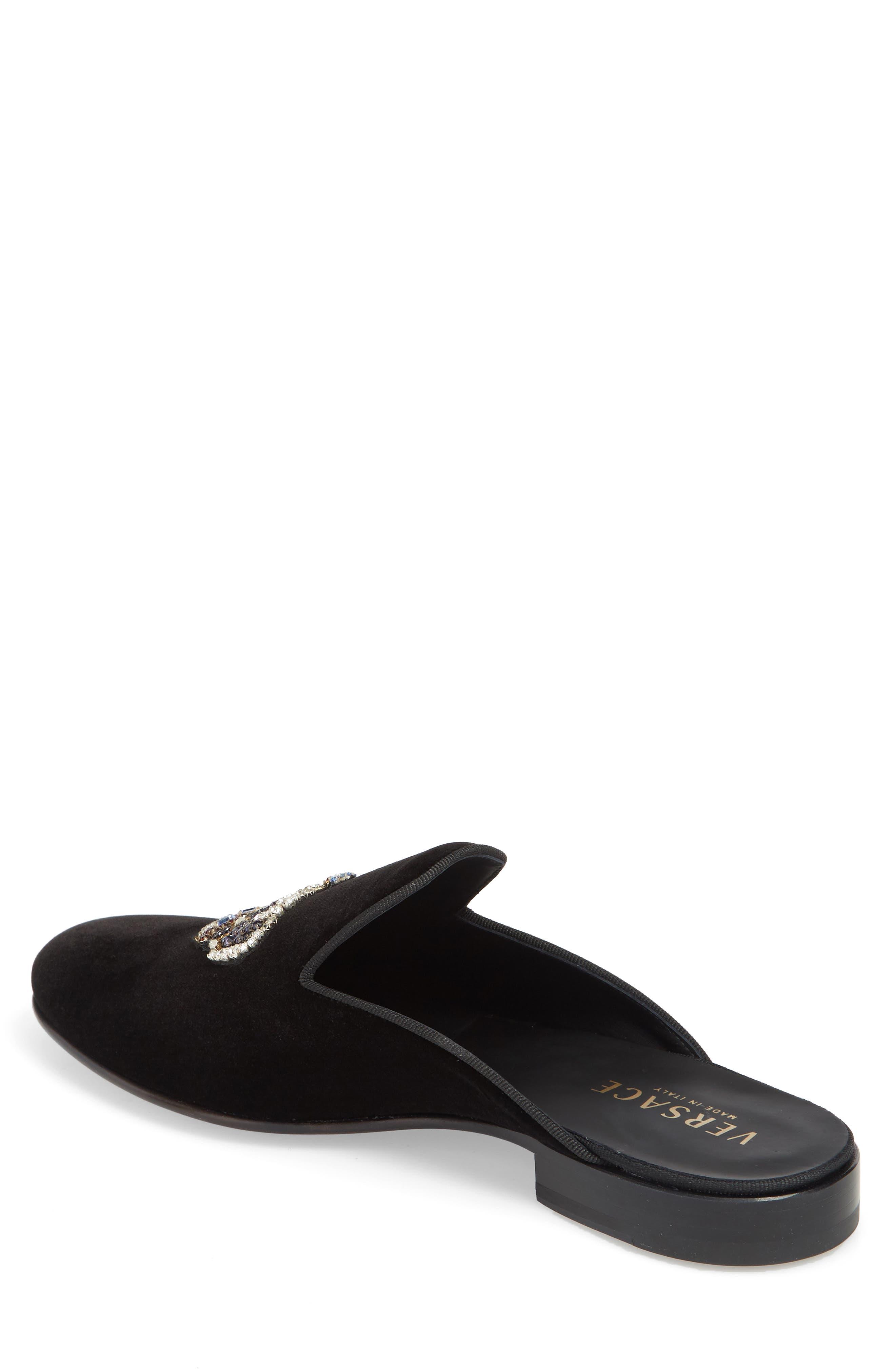 Gianni Embellished Crown Loafer Mule,                             Alternate thumbnail 2, color,                             Black Warm Gold