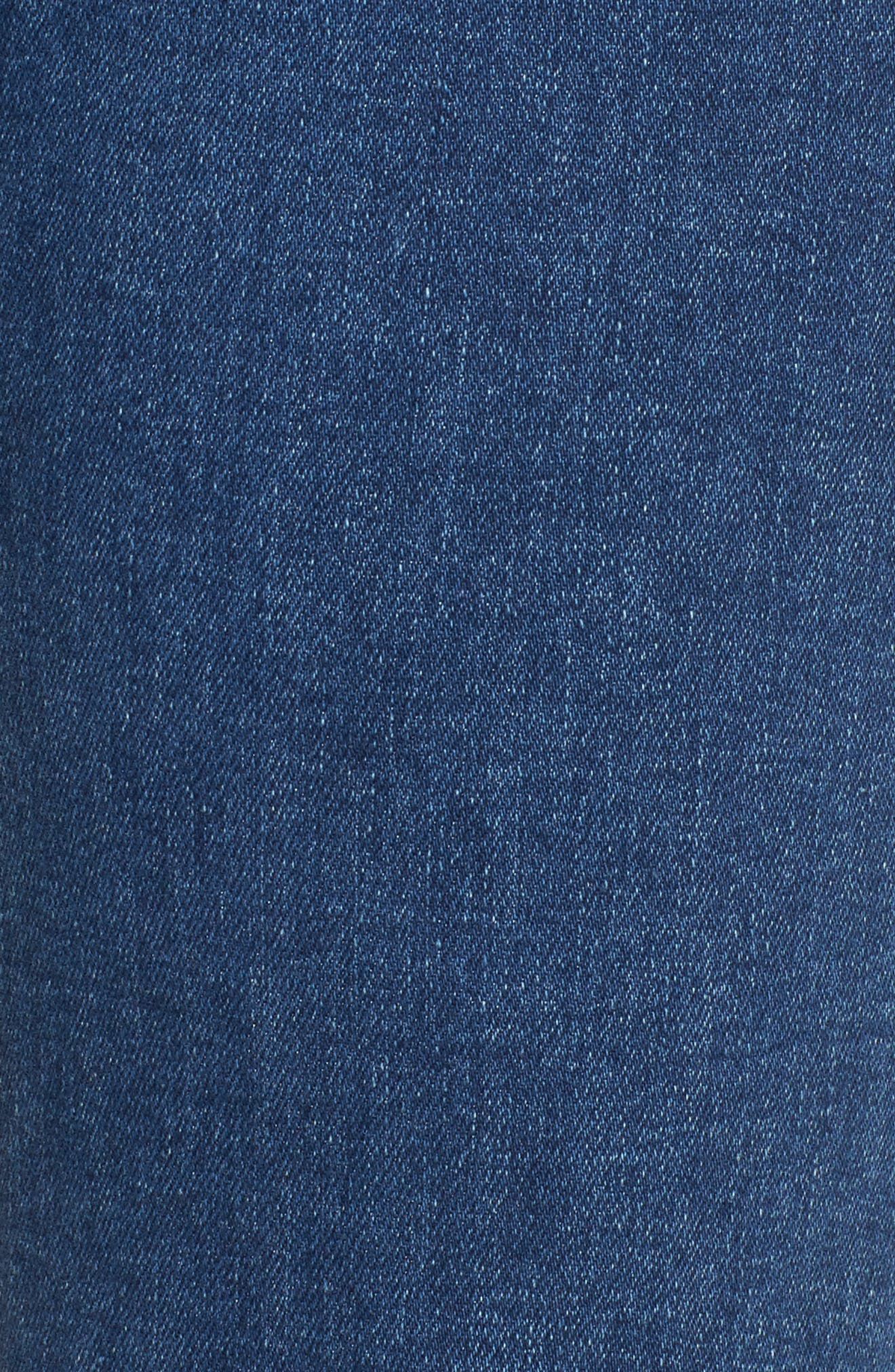 Pearl Embellished Crop Straight Leg Jeans,                             Alternate thumbnail 5, color,                             Garden City