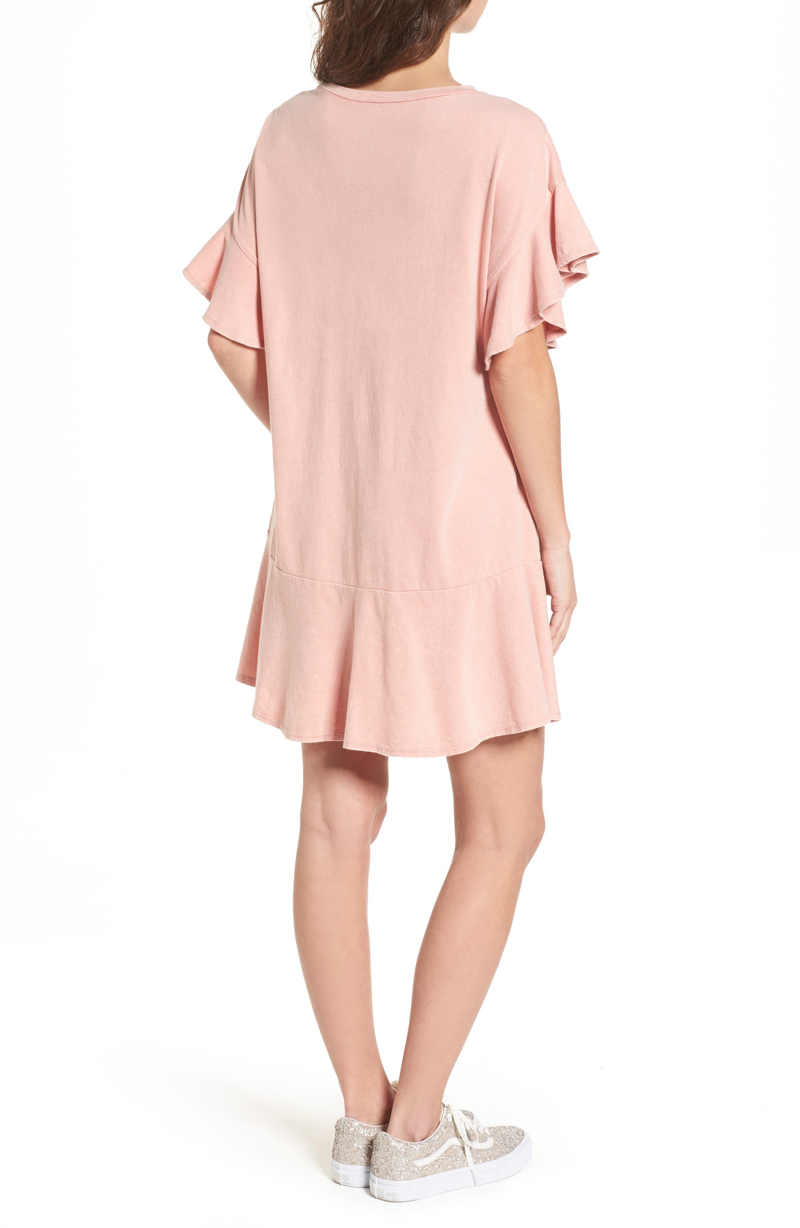 Stonewash Ruffle Trim Dress,                             Alternate thumbnail 2, color,                             Pink Dawn