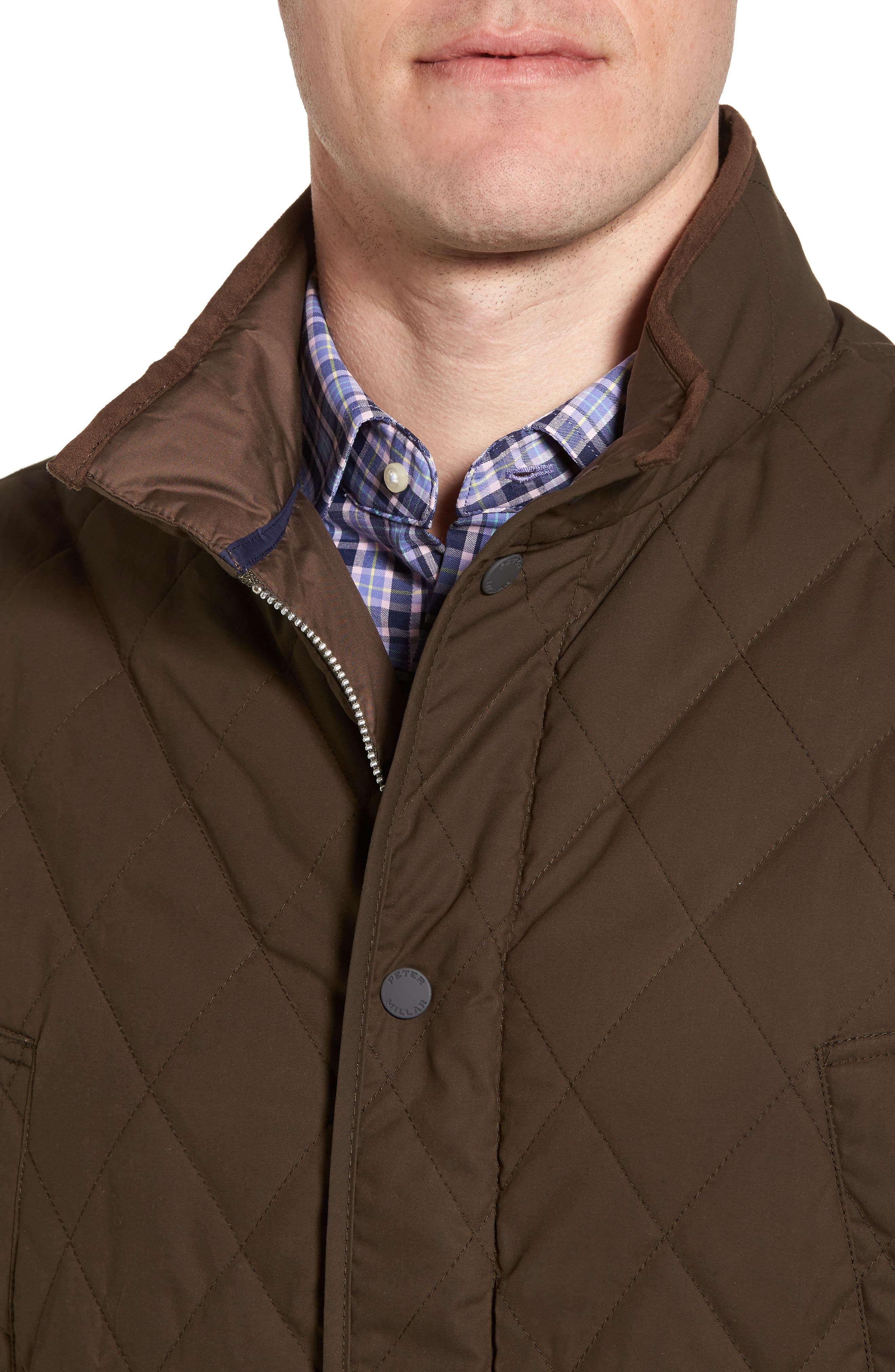 Keswick Waxed Cotton Quilted Vest,                             Alternate thumbnail 4, color,                             Dark Military