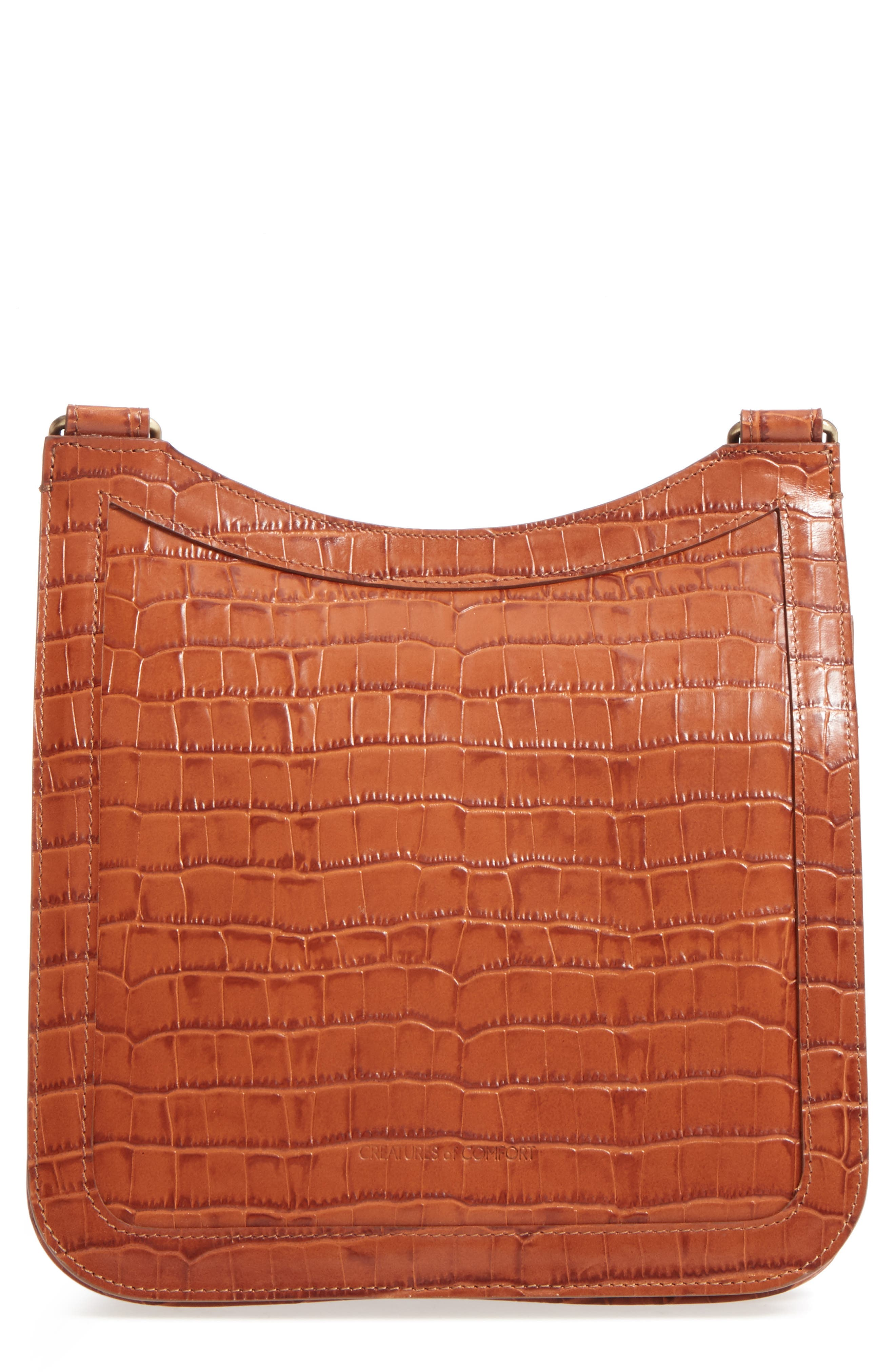 Tall Equestrian Croc Embossed Leather Crossbody Bag,                             Main thumbnail 1, color,                             Caramel