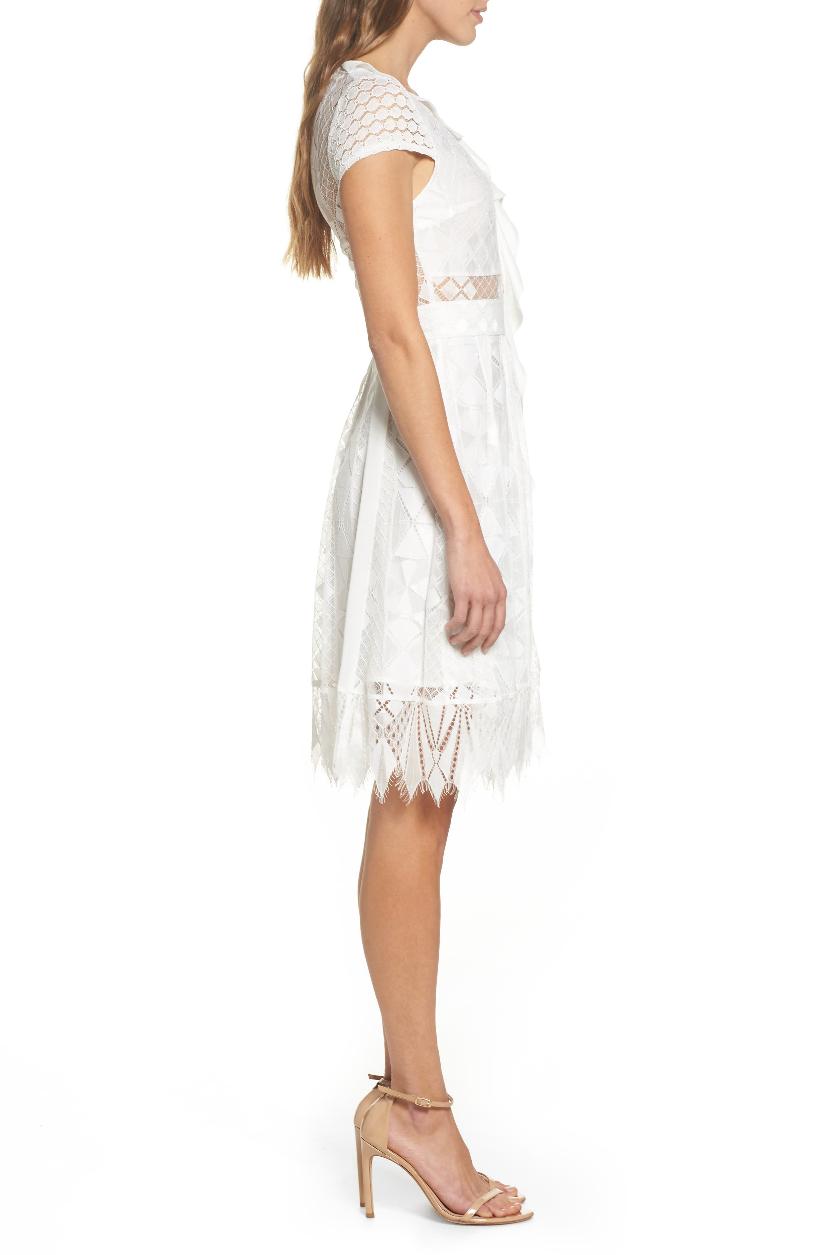Florence Geo Lace Fit & Flare Dress,                             Alternate thumbnail 3, color,                             White