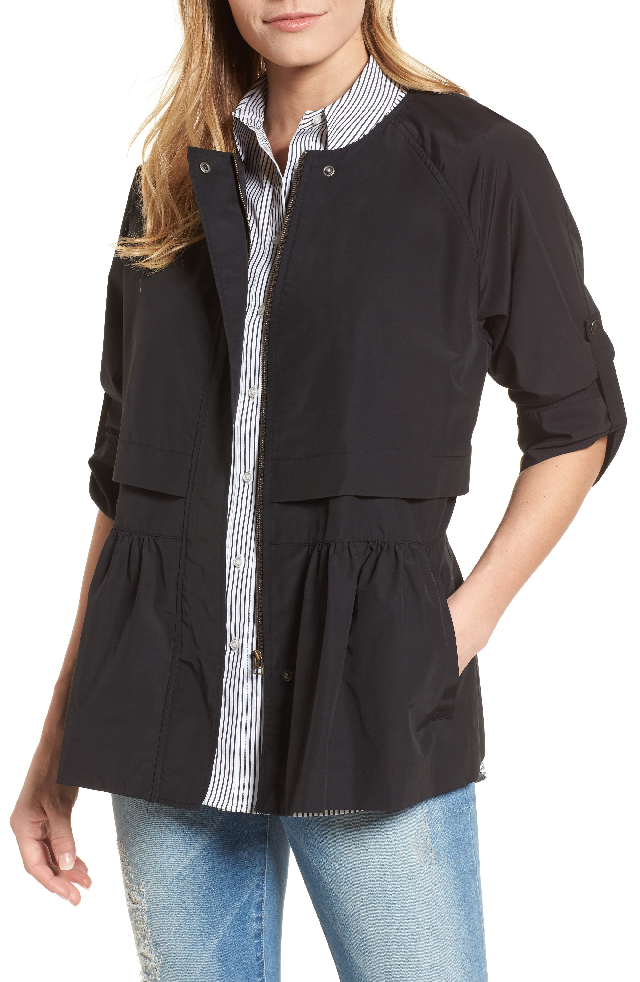 Peplum Cotton Blend Utility Jacket,                             Main thumbnail 1, color,                             Black