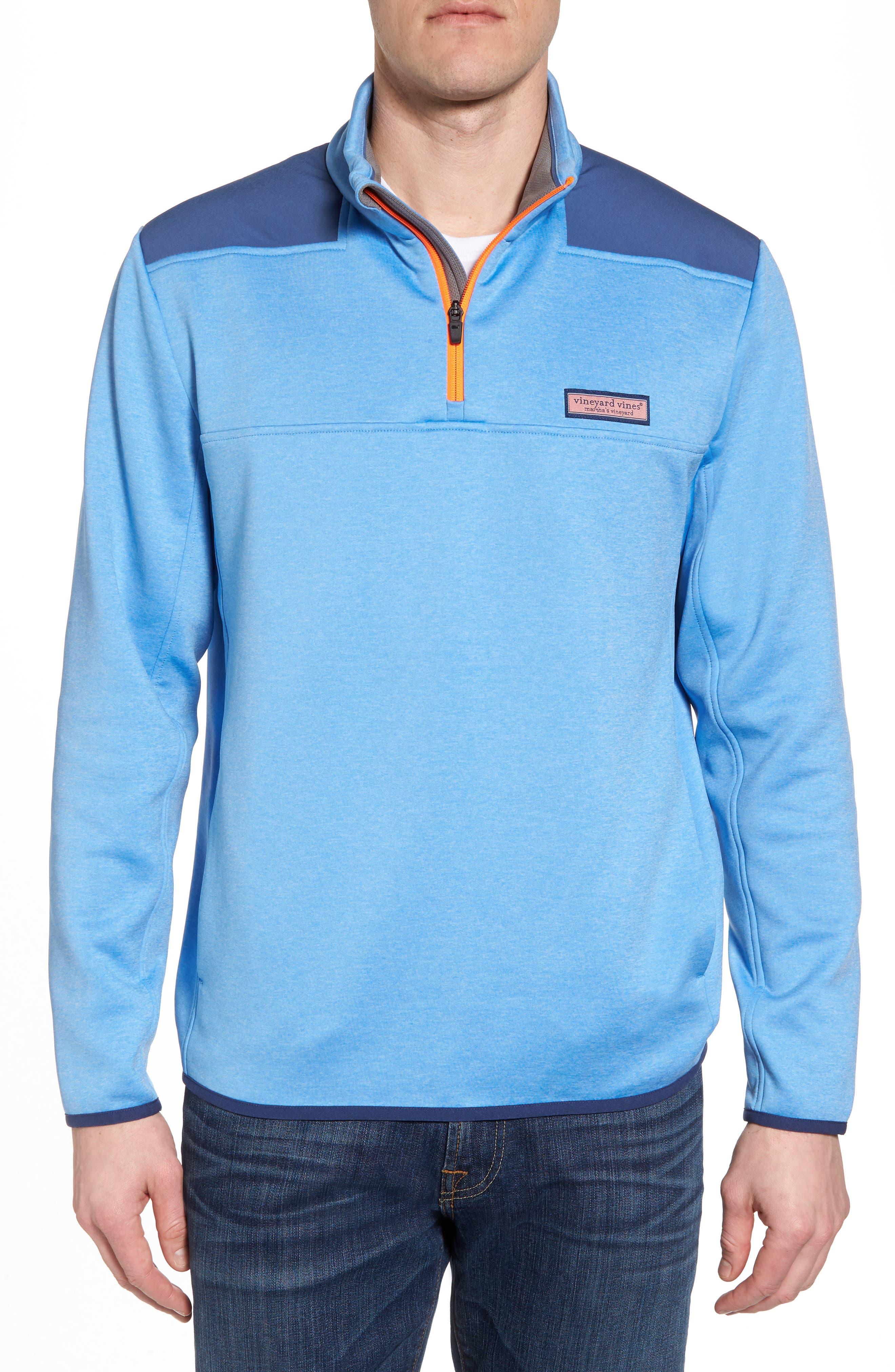 Shep Performance Fleece Quarter Zip Pullover,                         Main,                         color, Ocean Breeze