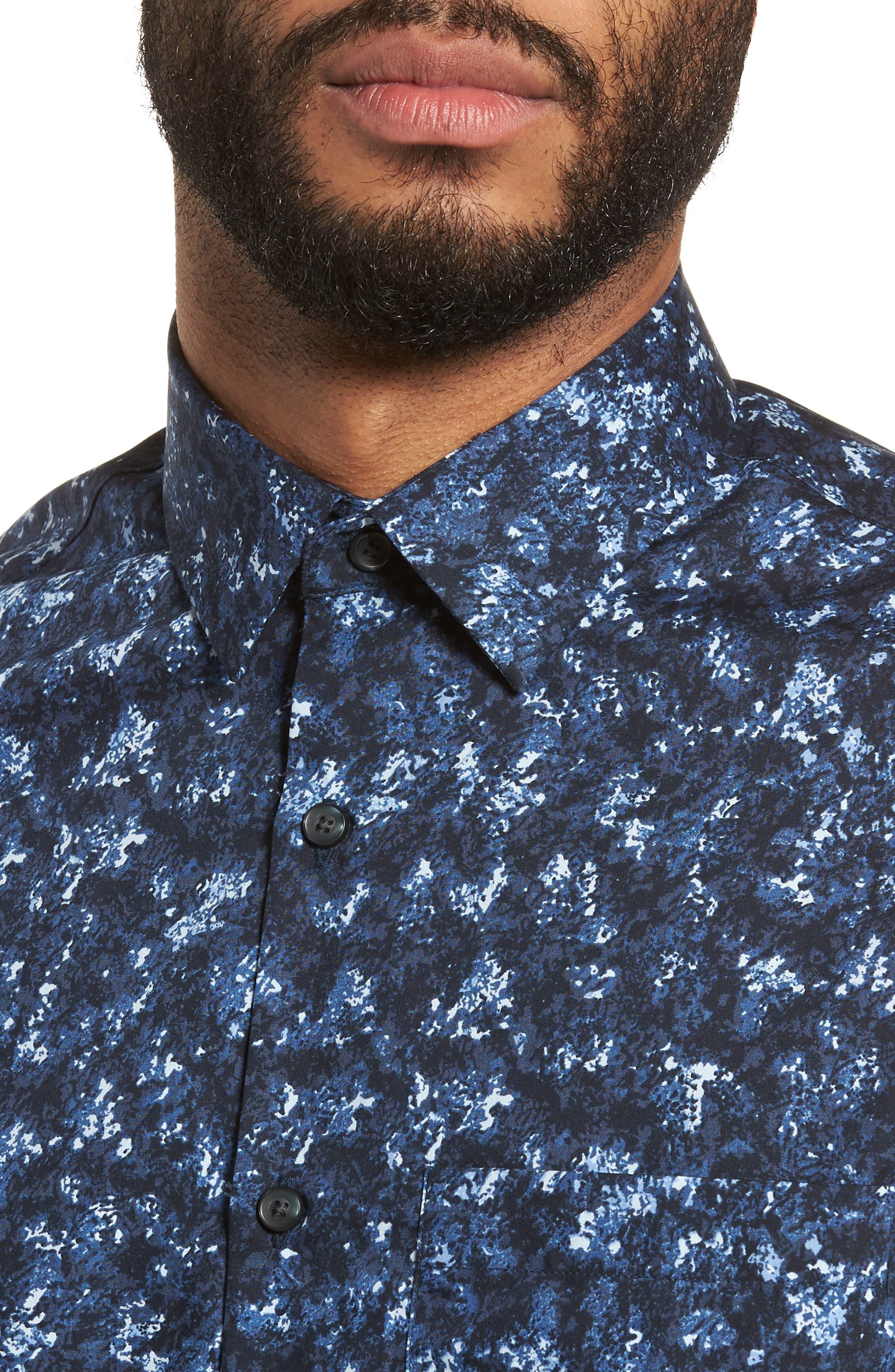 Print Sport Shirt,                             Alternate thumbnail 2, color,                             Blue Navy Crinkle