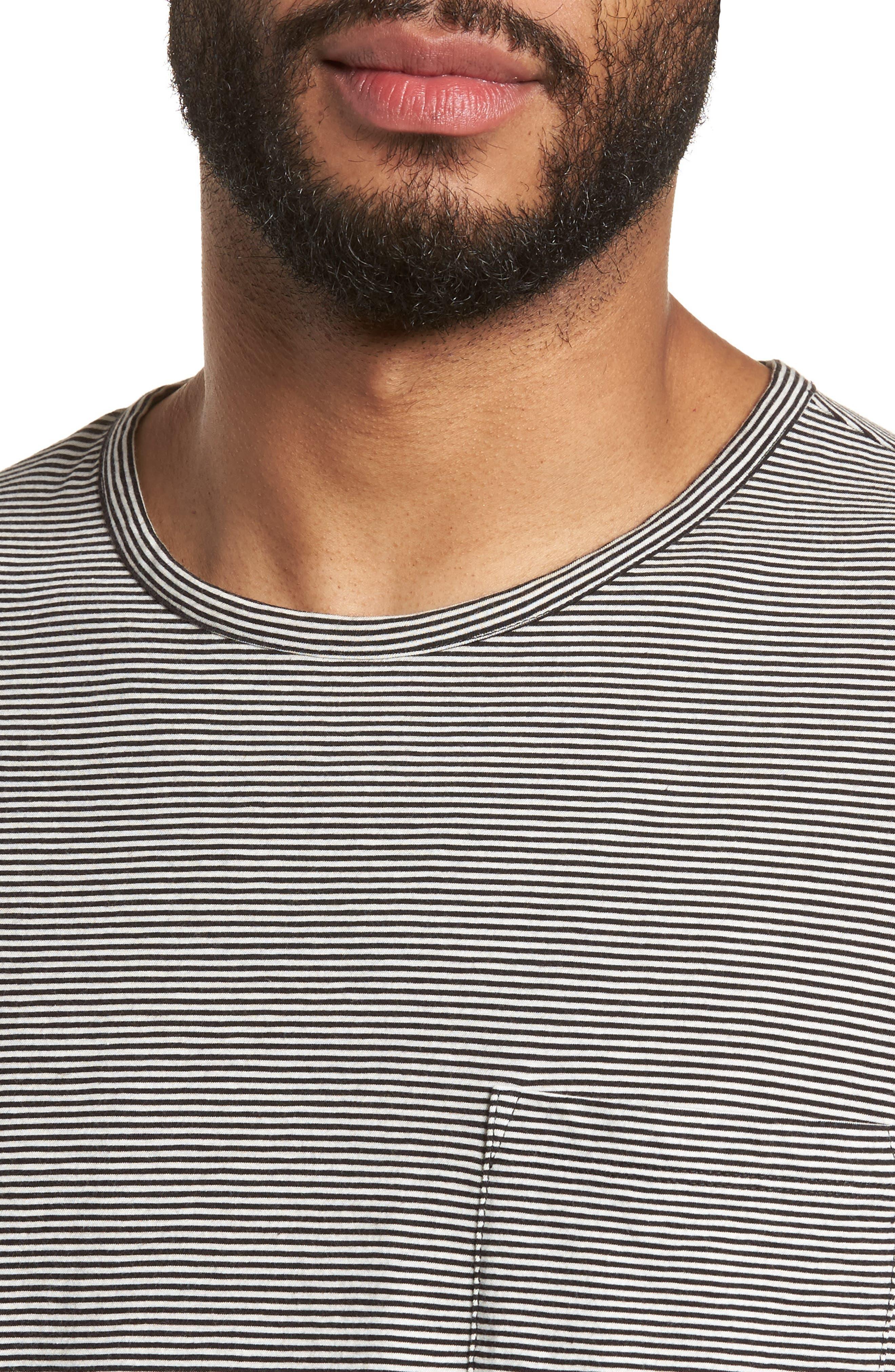 Feeder Stripe Long Sleeve Pocket T-Shirt,                             Alternate thumbnail 4, color,                             Black/ Leche