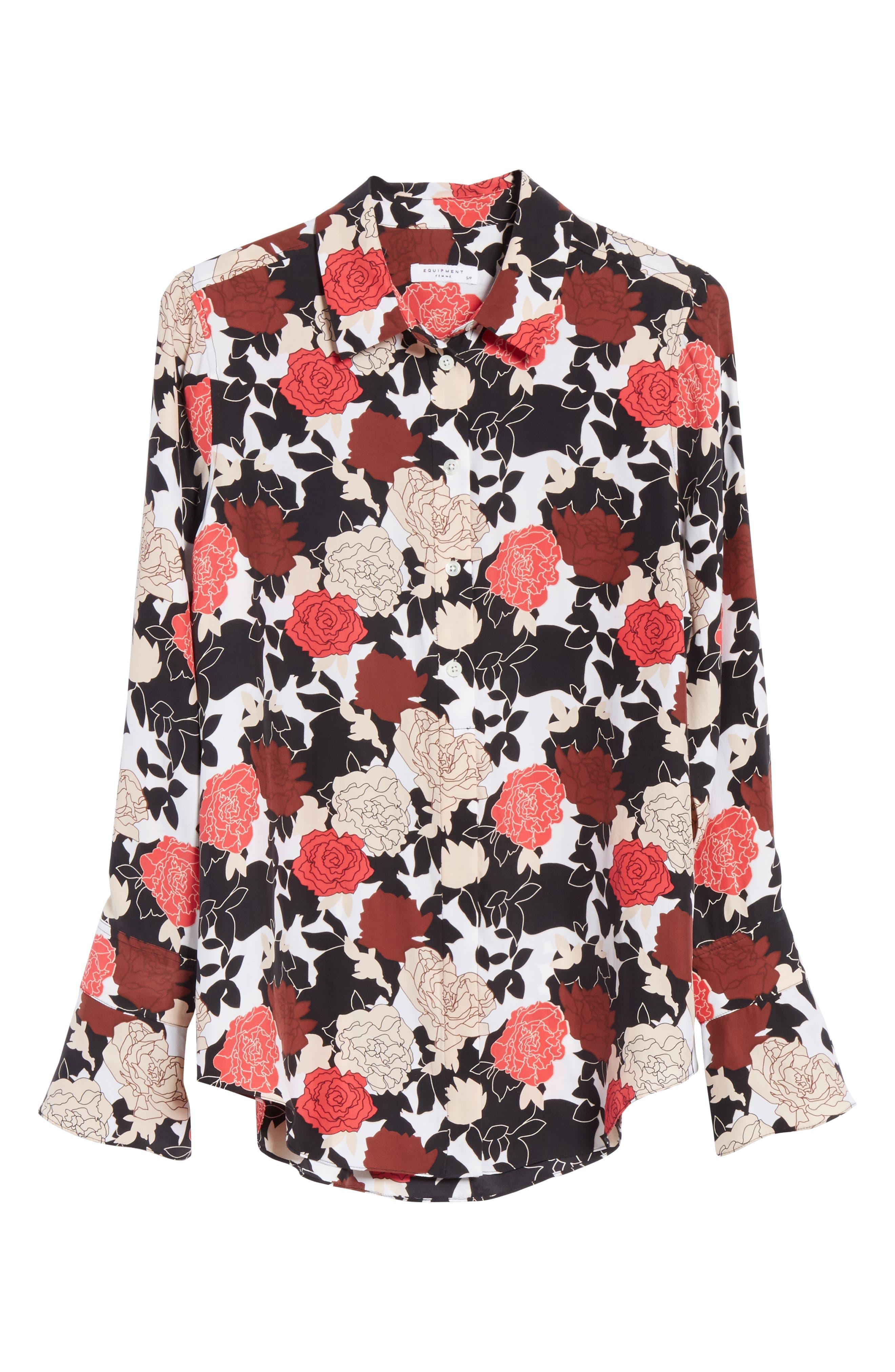 Daphne Floral Silk Shirt,                             Alternate thumbnail 6, color,                             Bright White Multi