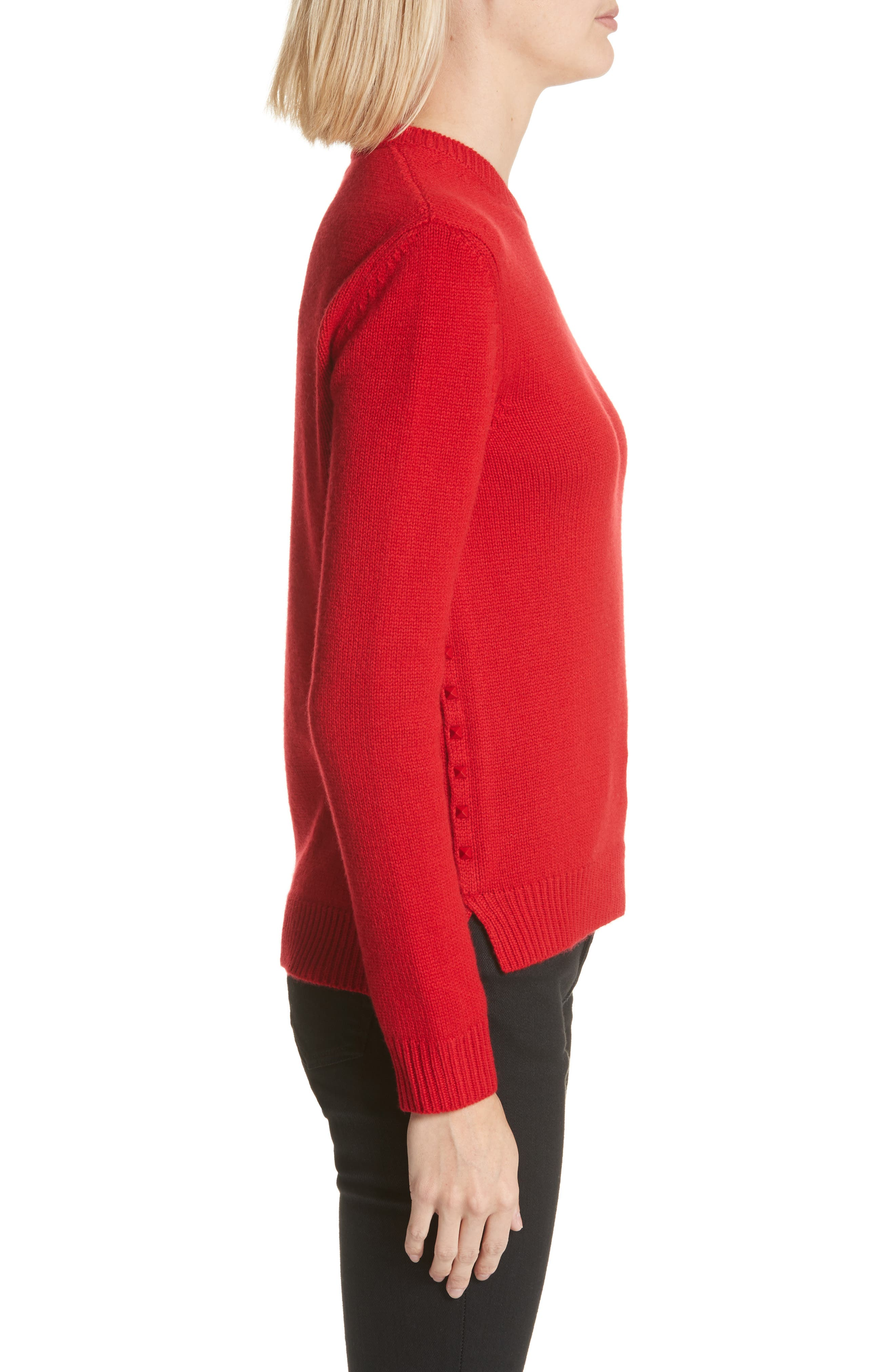Rockstud Cashmere Sweater,                             Alternate thumbnail 3, color,                             Red