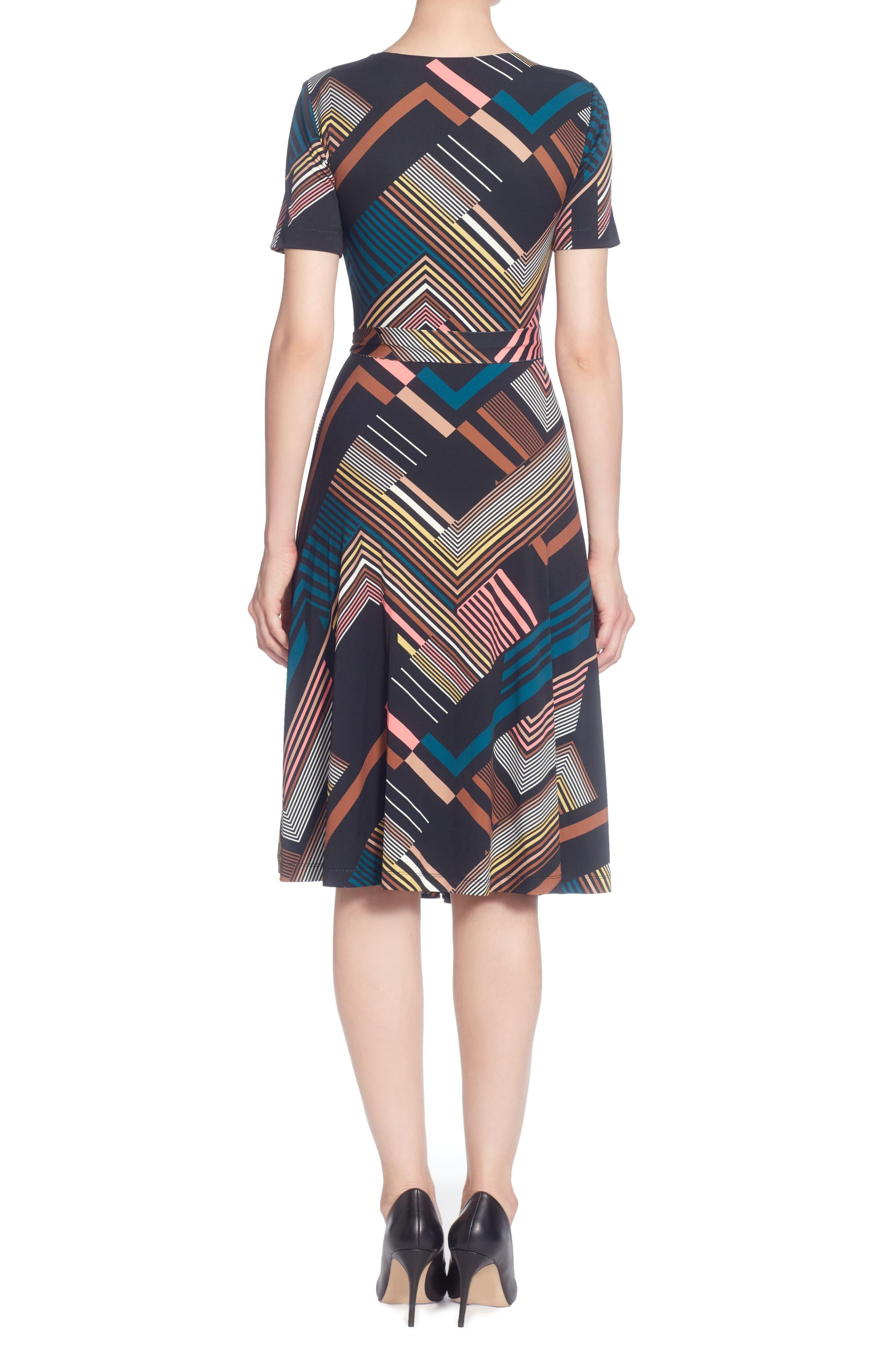 Taral Print Faux Wrap Dress,                             Alternate thumbnail 2, color,                             Deco Stripe