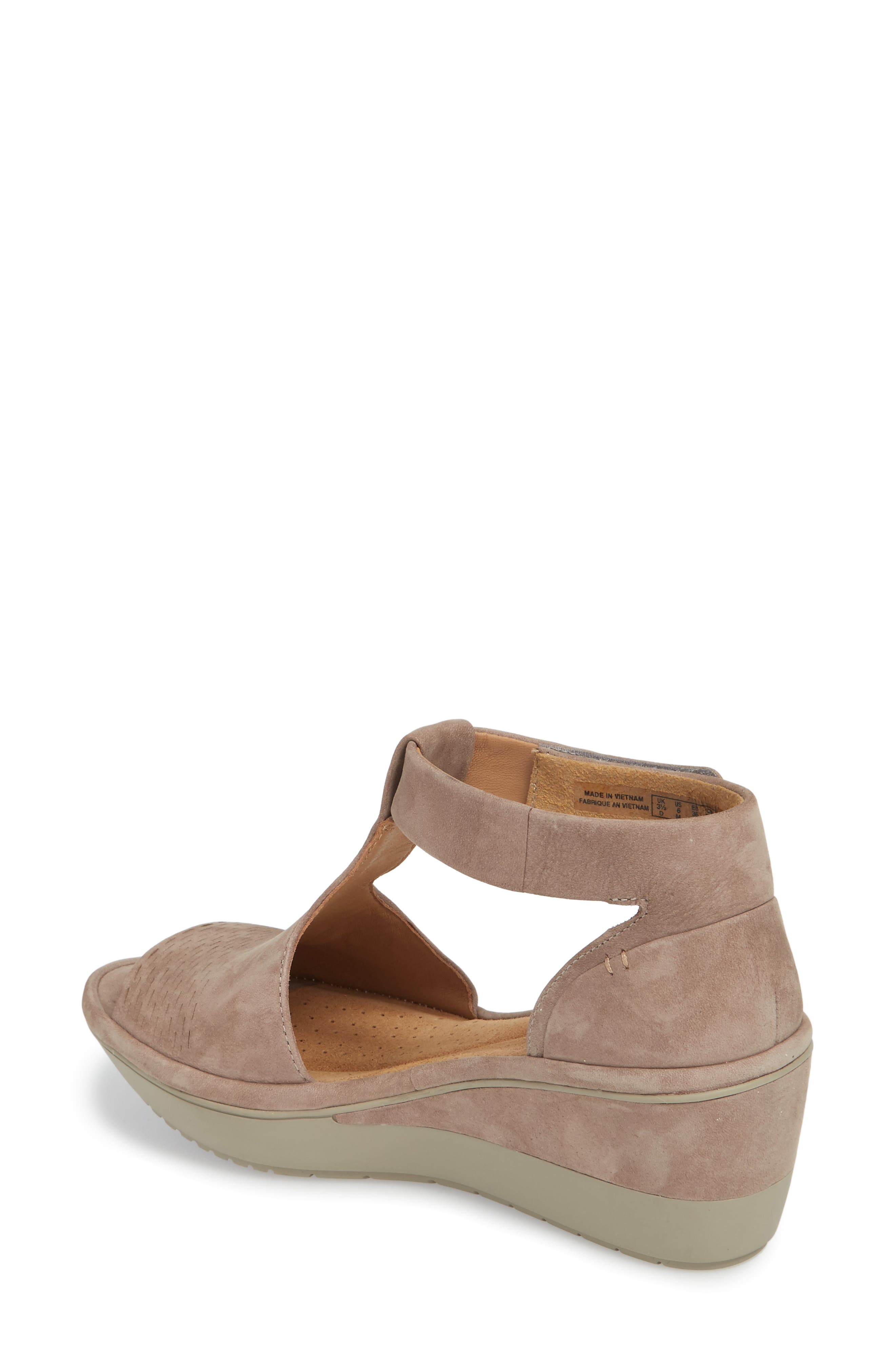 Wynnmere Avah T-Strap Wedge Sandal,                             Alternate thumbnail 2, color,                             Warm Grey Nubuck