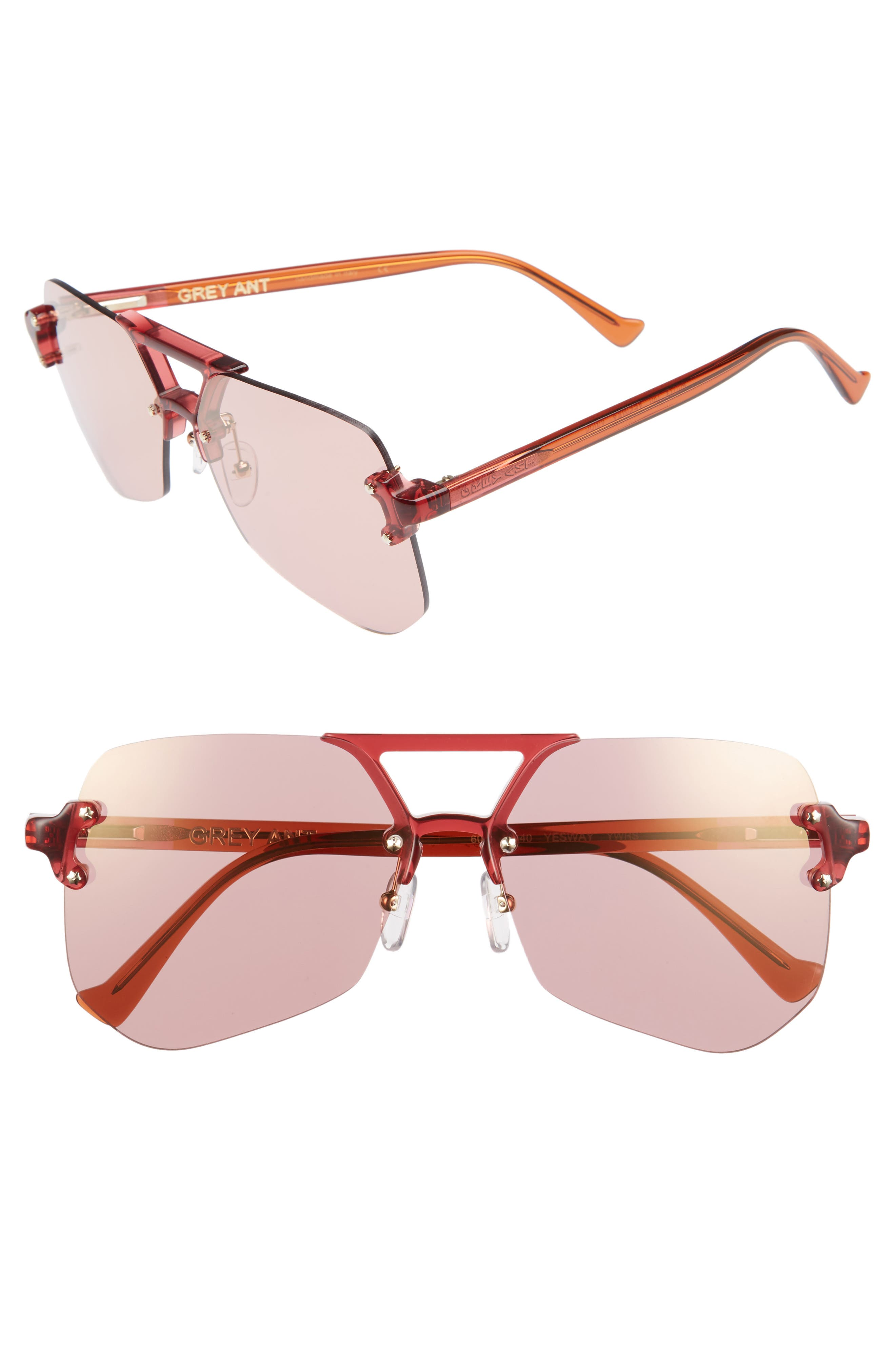 Yesway 60mm Sunglasses,                             Main thumbnail 1, color,                             Rose Lens/ Gold Hardware