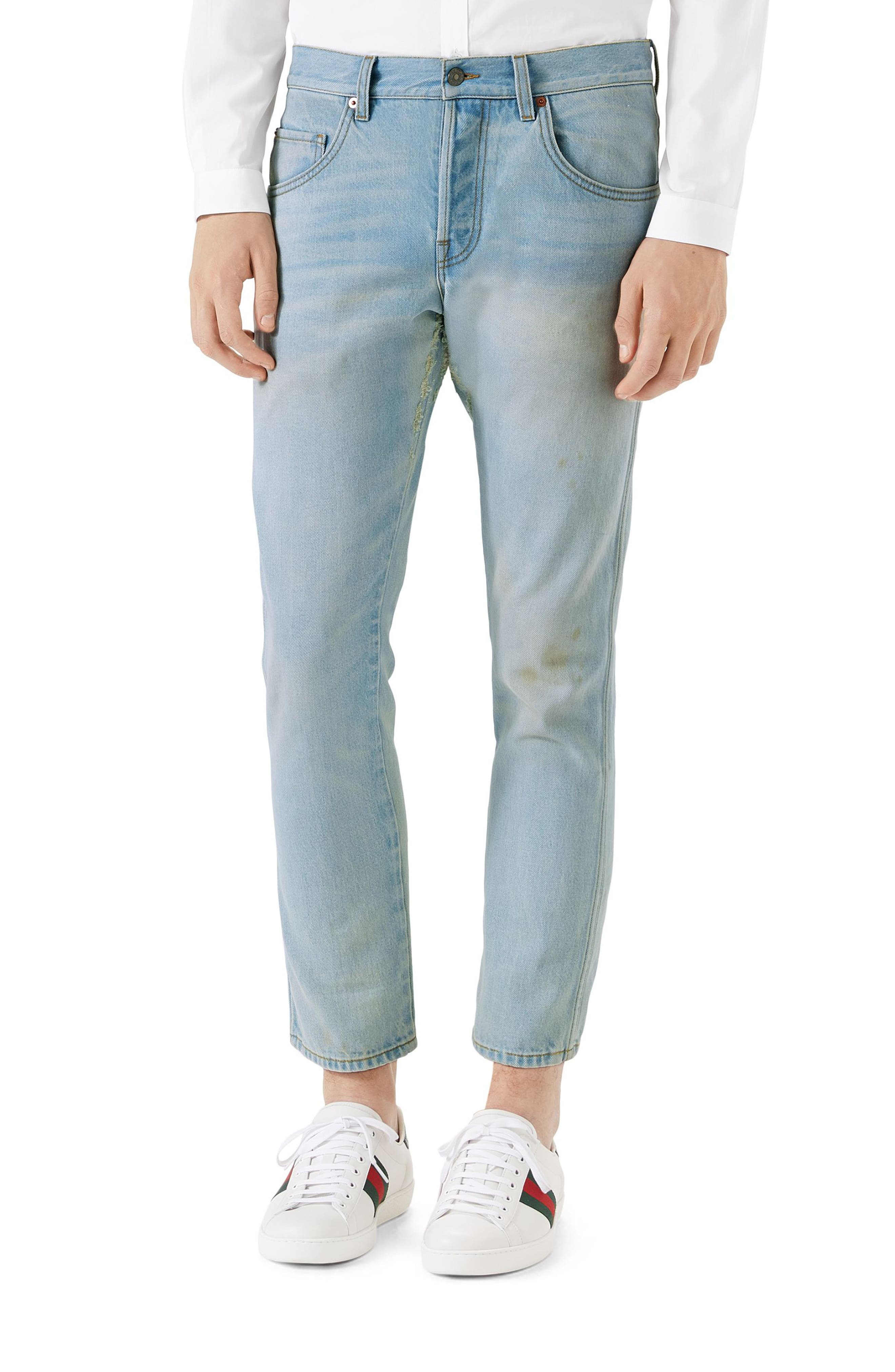 Tapered Crop Jeans,                         Main,                         color, Washed
