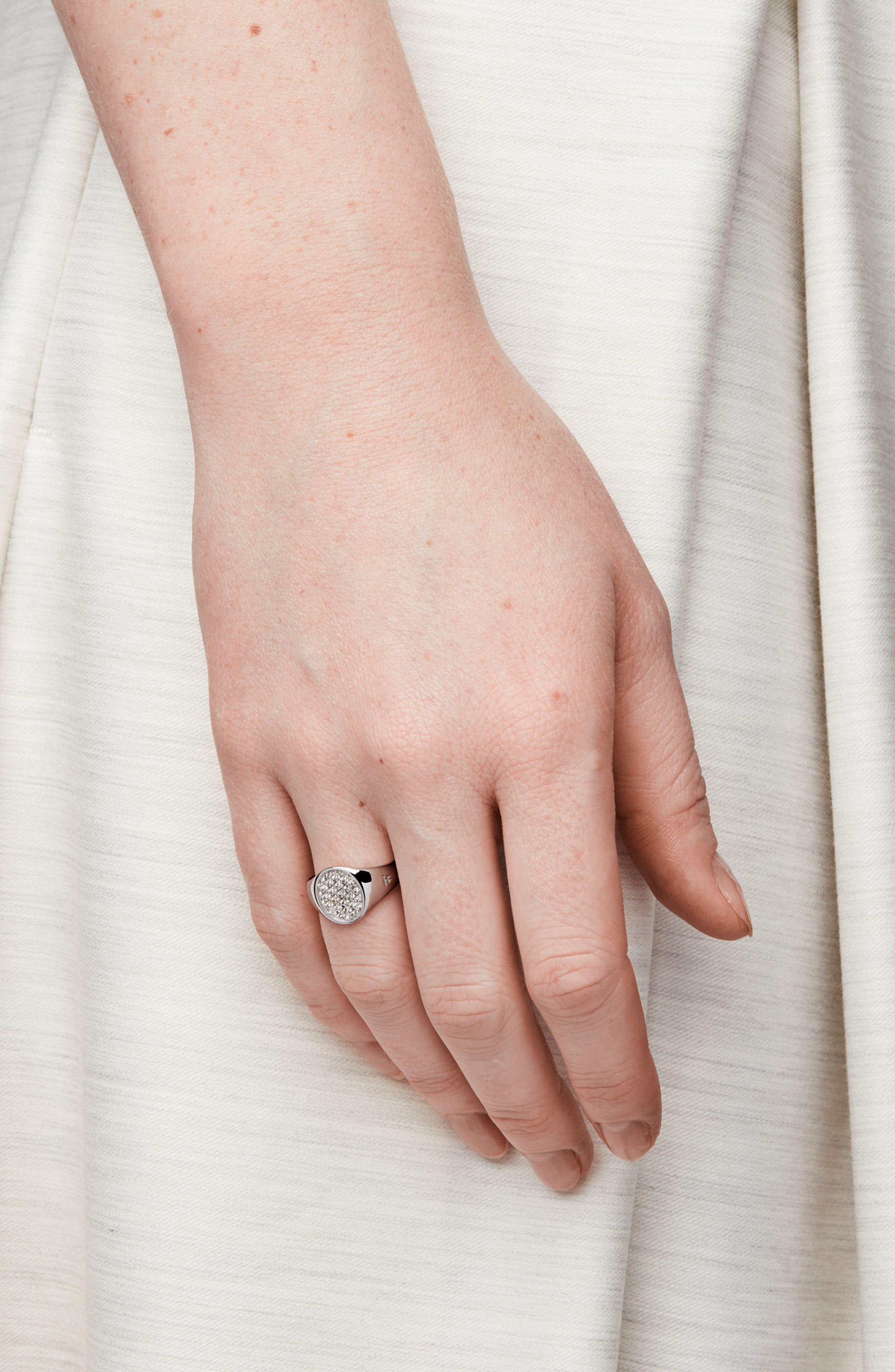 Mini Oval White Topaz Signet Ring,                             Alternate thumbnail 2, color,                             Silver Topaz
