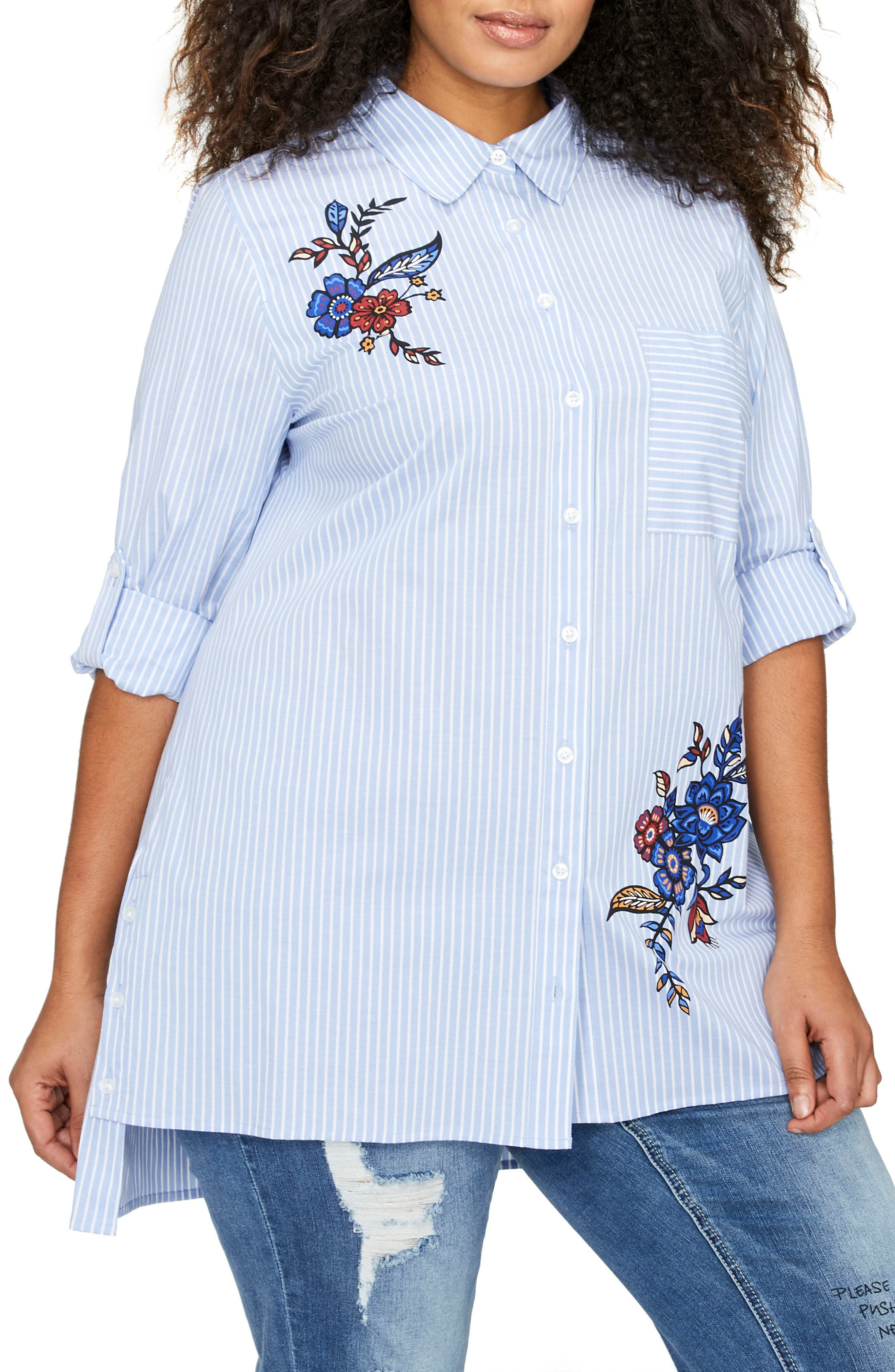 ADDITION ELLE LOVE AND LEGEND Flower & Stripe Shirt (Plus Size)