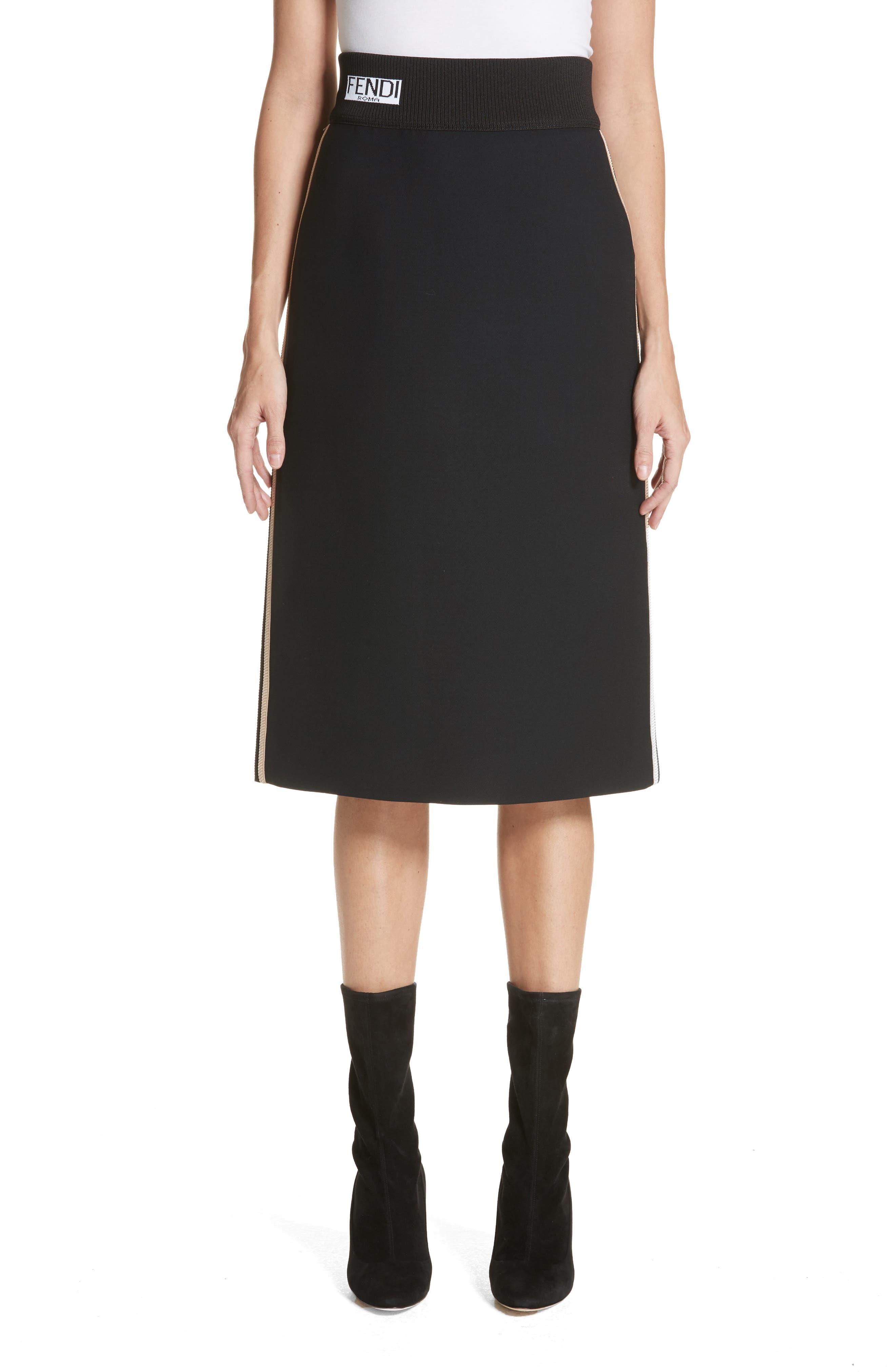 Wool & Silk Gazar Pencil Skirt,                         Main,                         color, Black