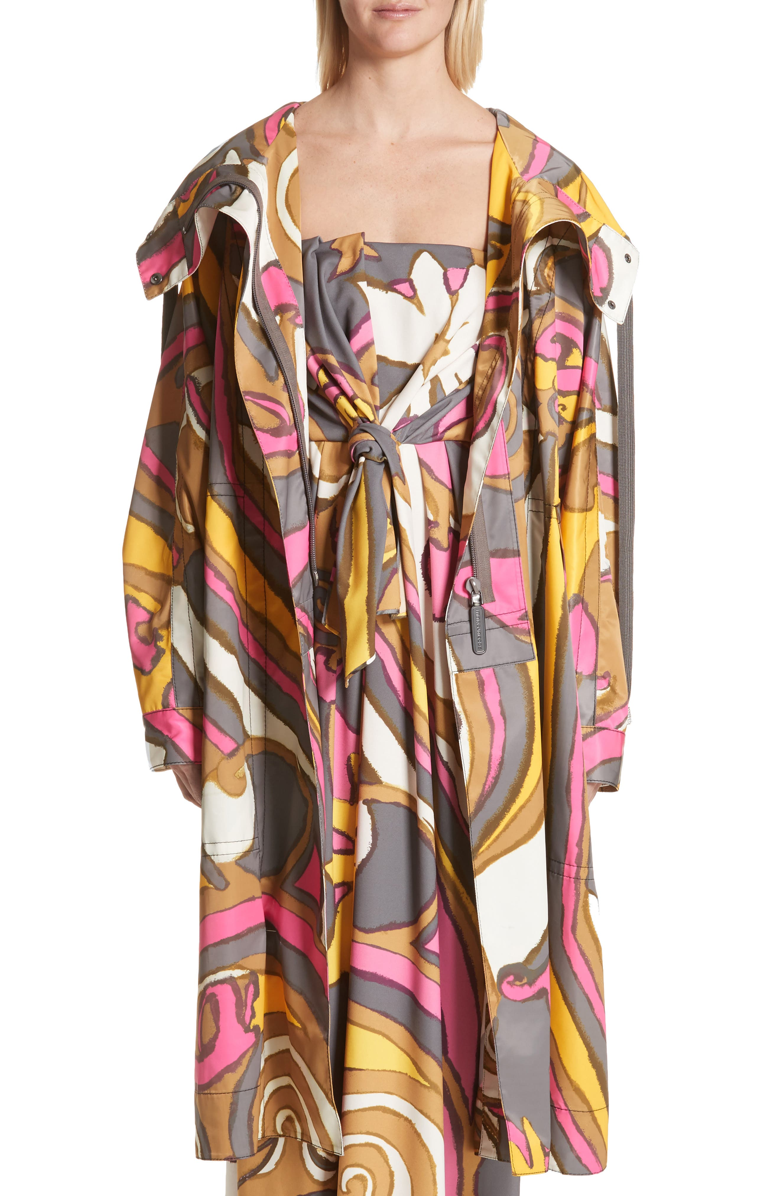 Retro Print Oversize Coat,                         Main,                         color, Grey Multi