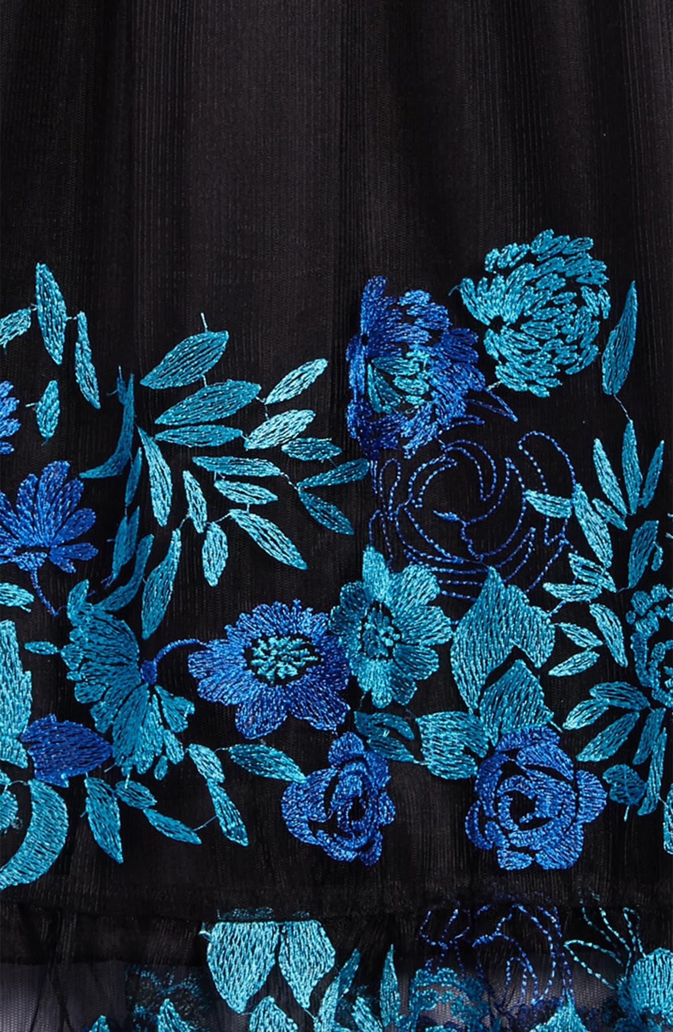 Embroidered Mesh Cold Shoulder Dress,                             Alternate thumbnail 3, color,                             Black