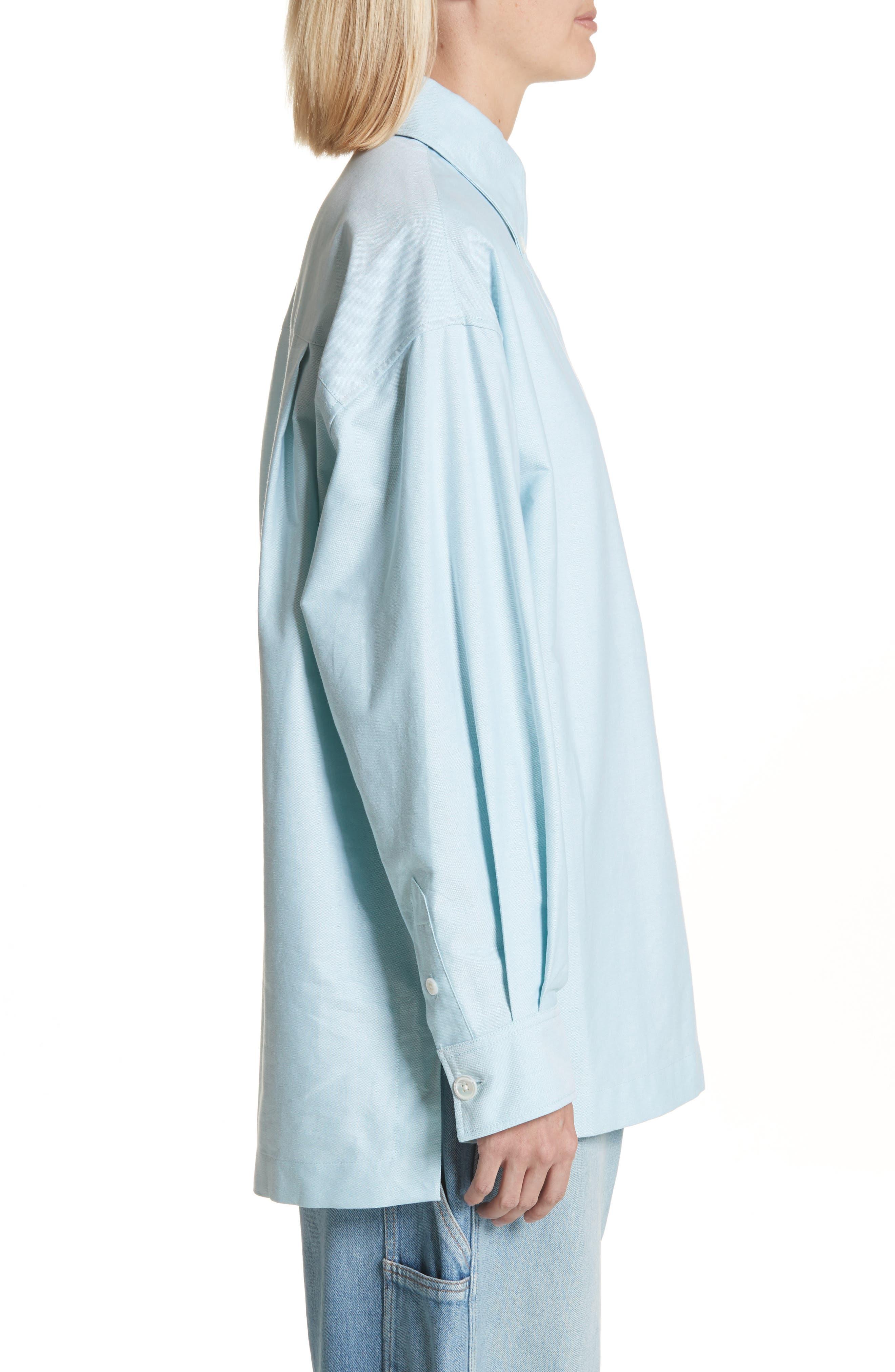 Oversize Half Placket Shirt,                             Alternate thumbnail 3, color,                             Light Turquoise