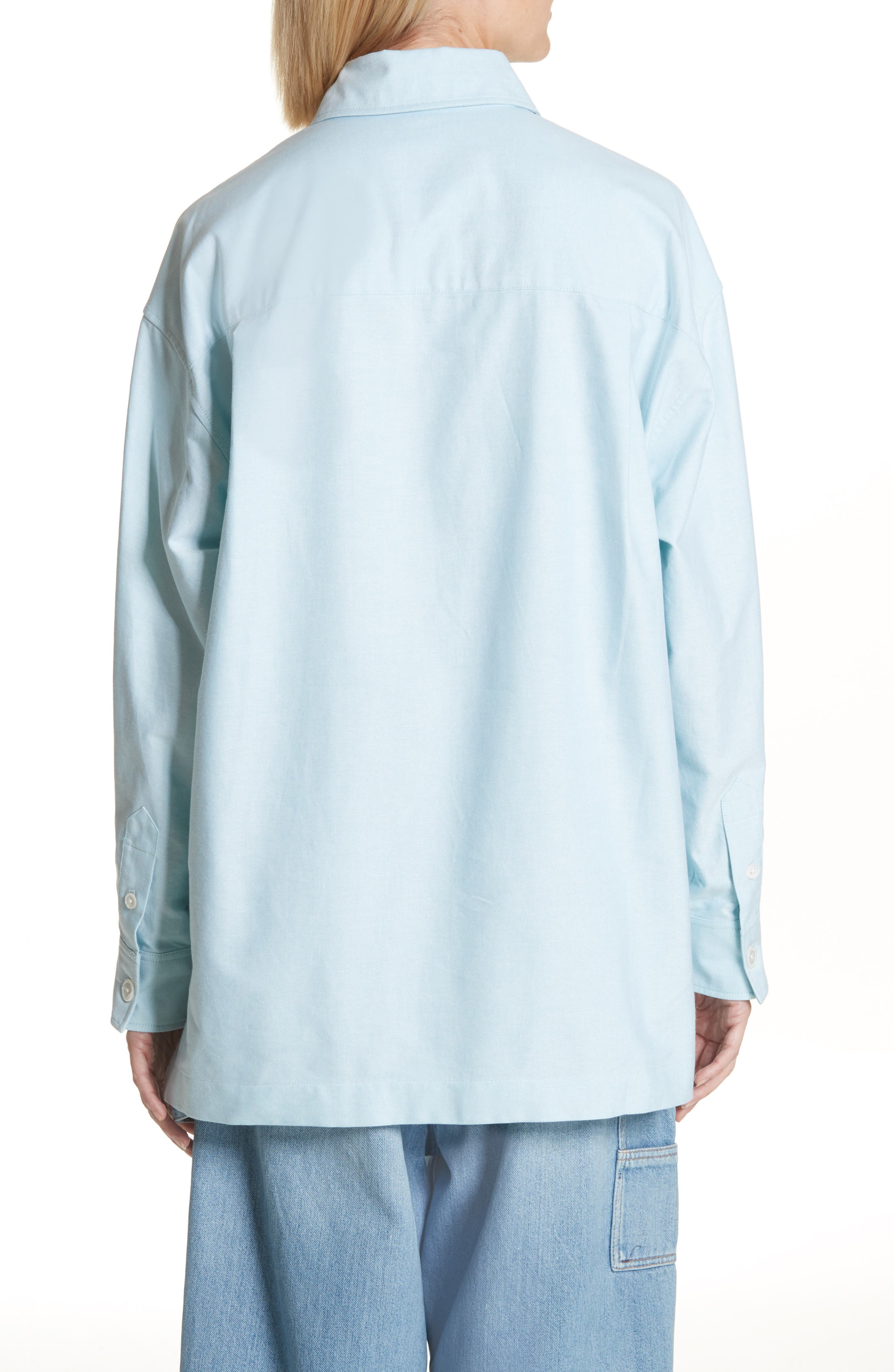 Oversize Half Placket Shirt,                             Alternate thumbnail 2, color,                             Light Turquoise