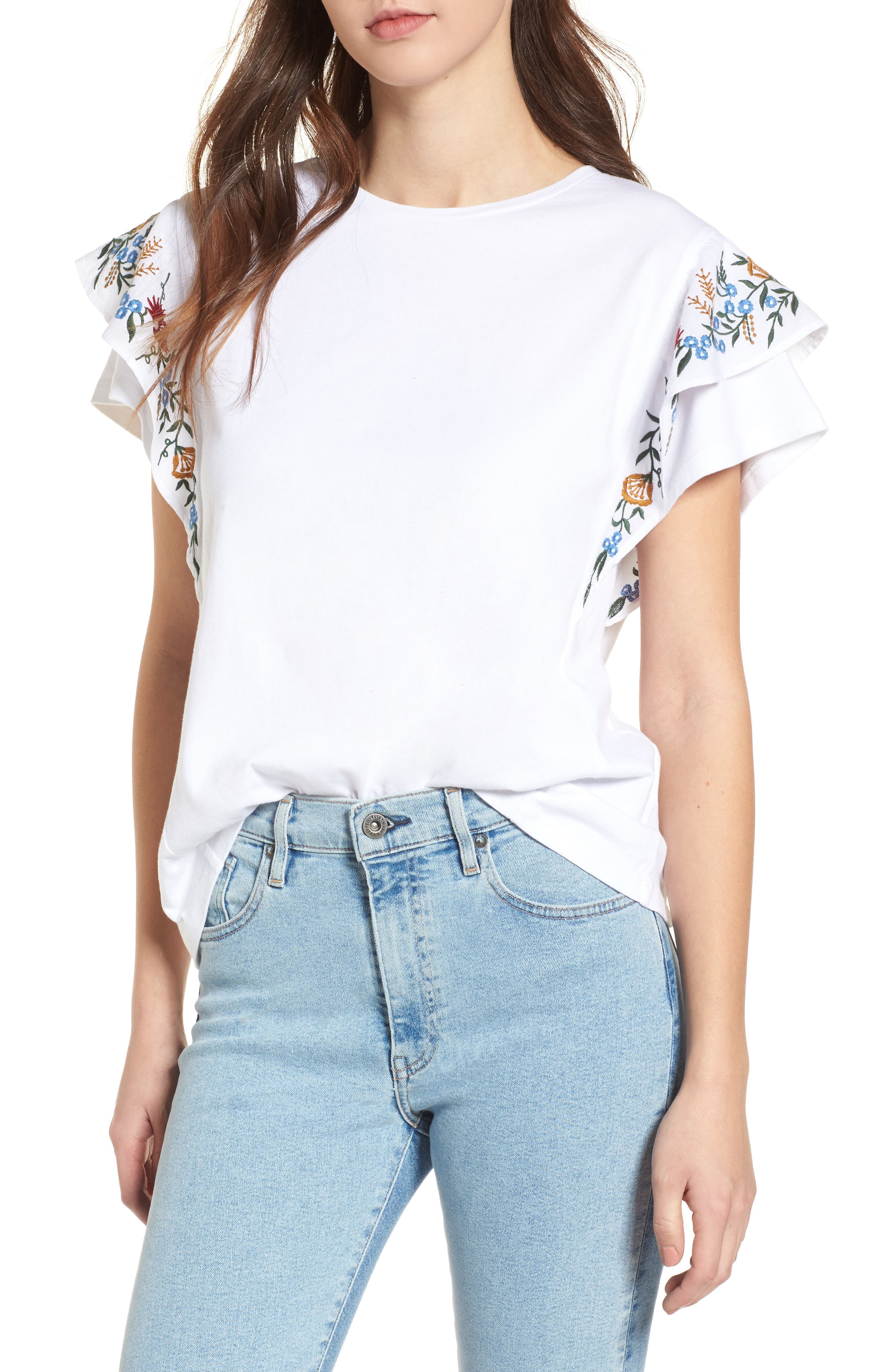Embroidered Cotton Tee,                         Main,                         color, White