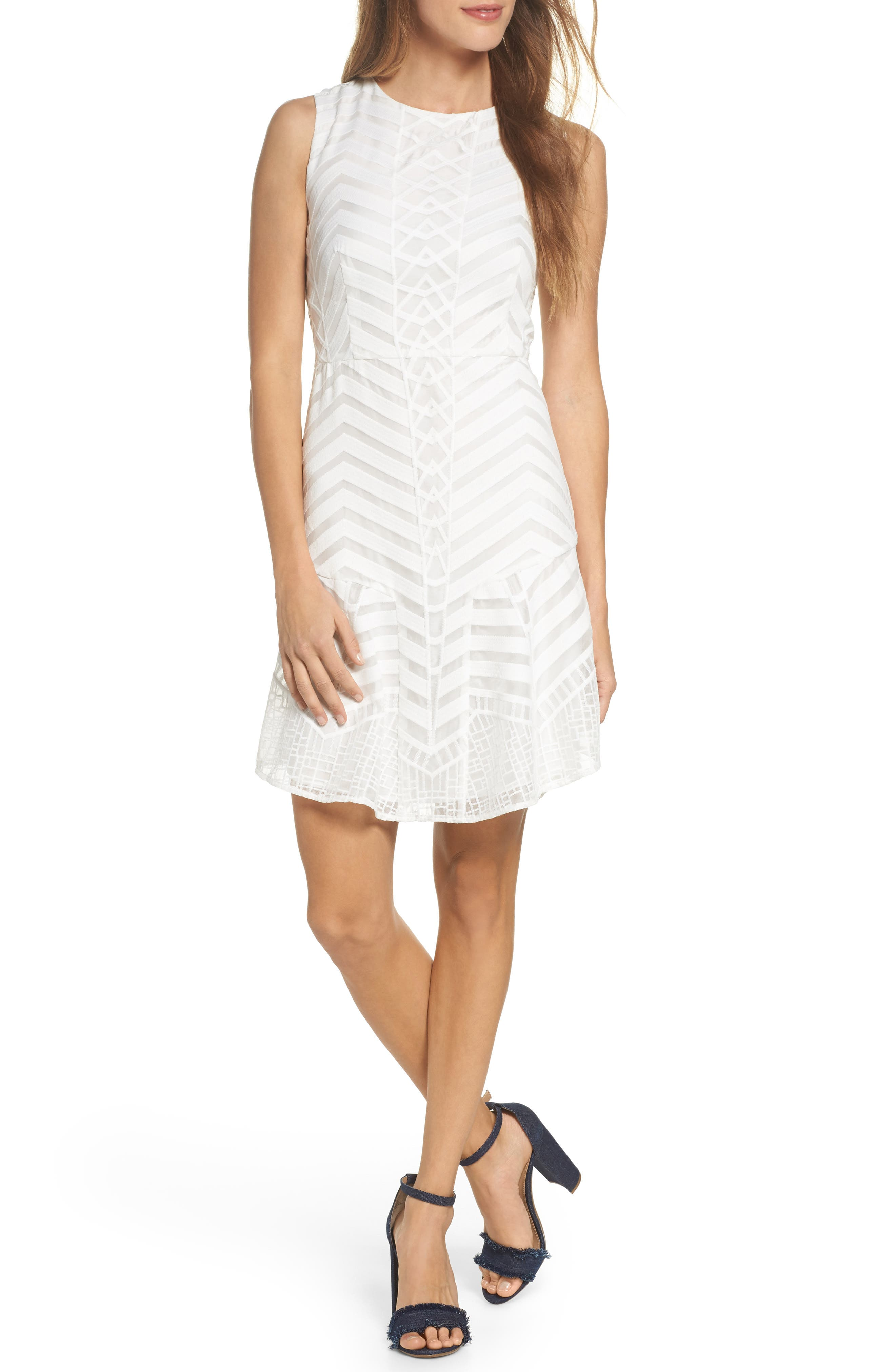 Fit & Flare Dress,                         Main,                         color, White Snow