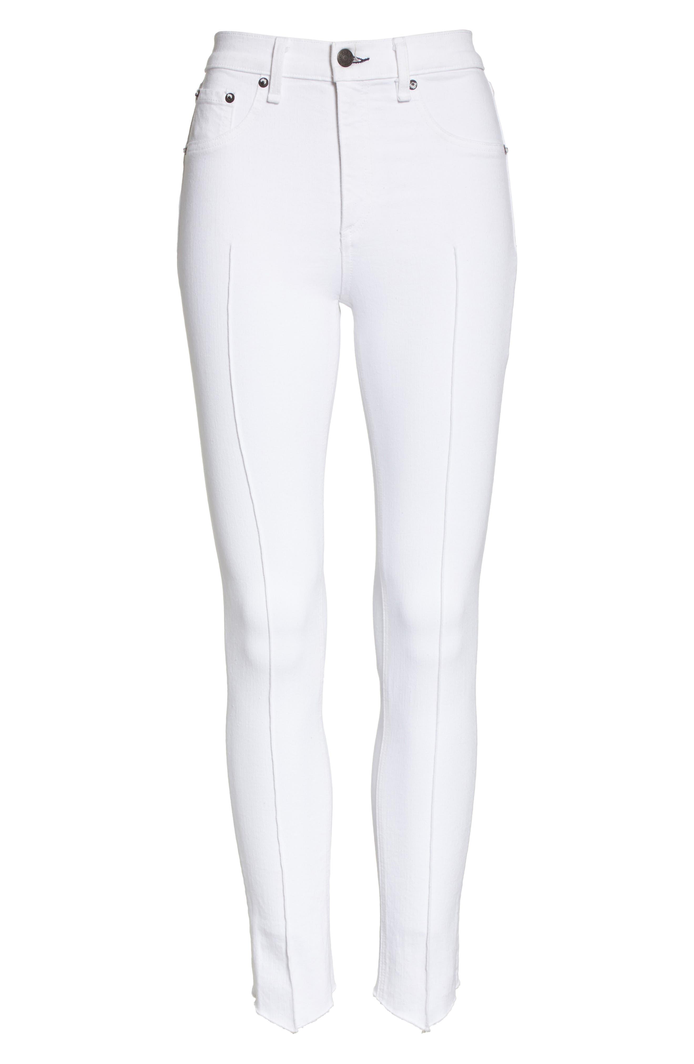 High Waist Ankle Skinny Jeans,                             Alternate thumbnail 6, color,                             White Manson