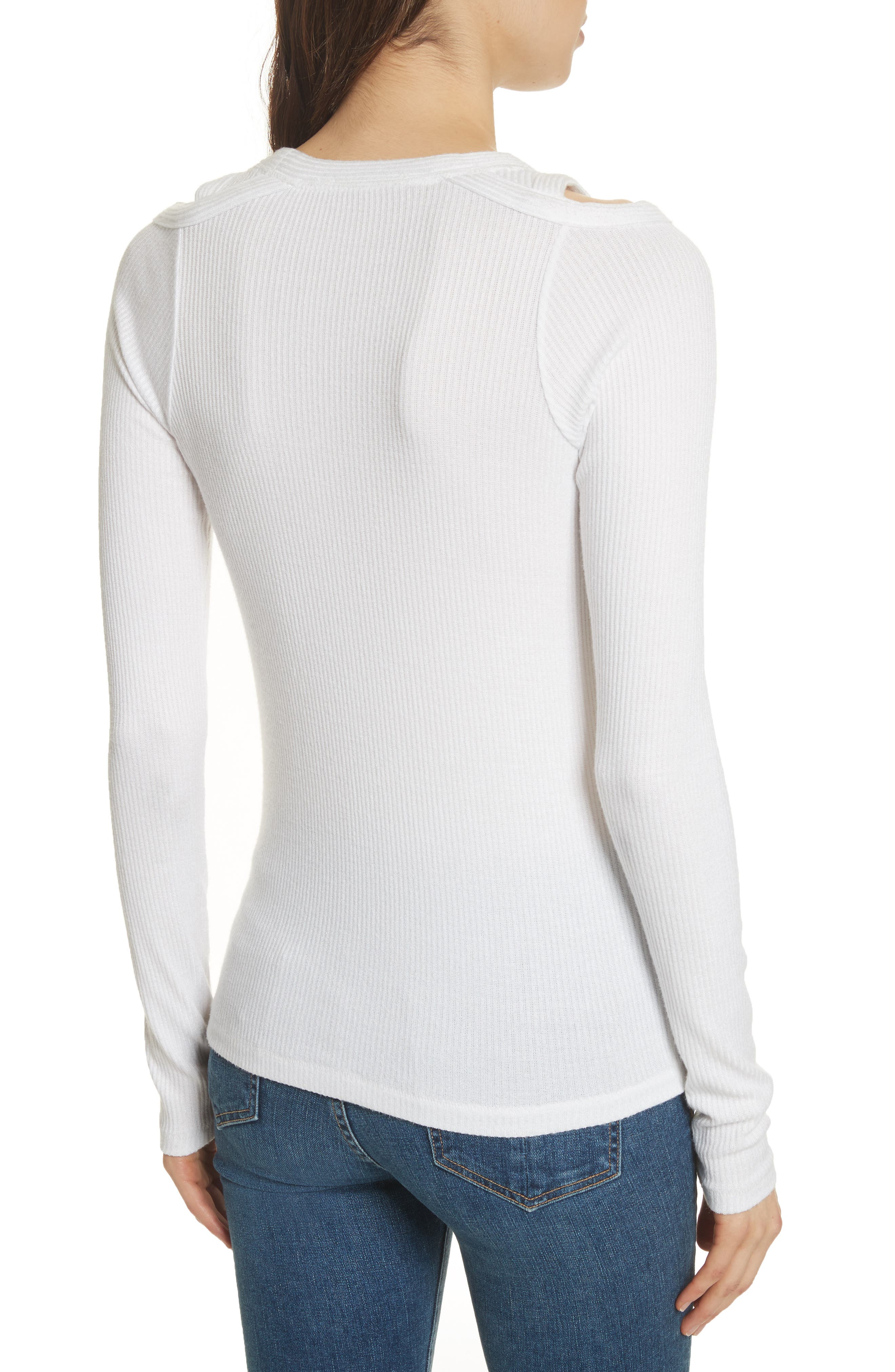 Rosalind Cutout Ribbed Top,                             Alternate thumbnail 2, color,                             White