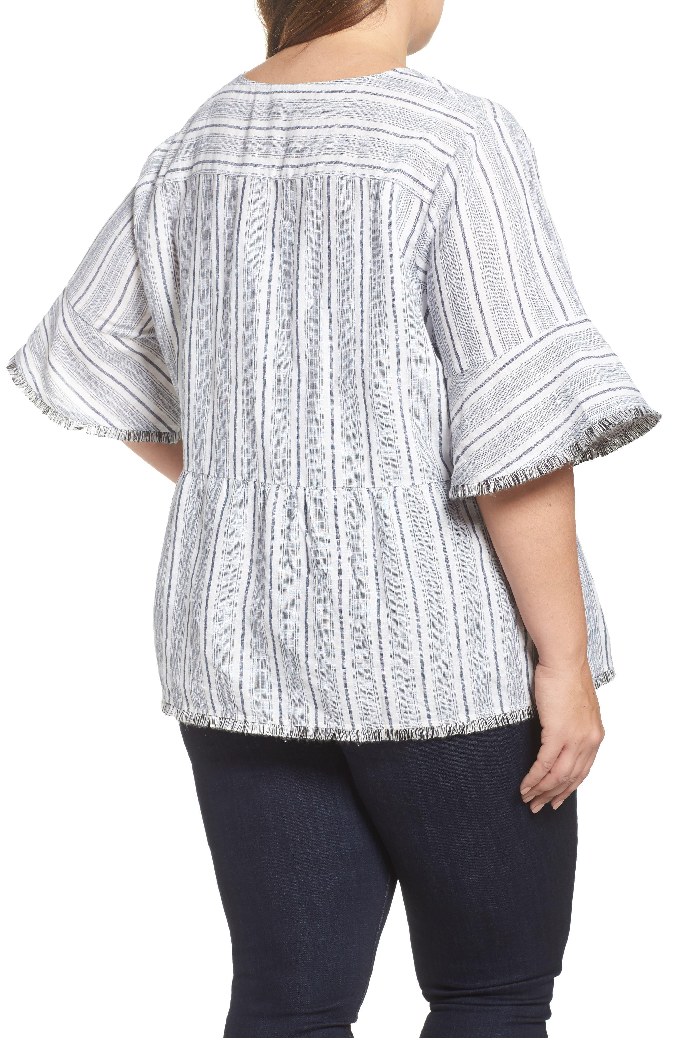 Stripe Fray Edge Linen Blend Top,                             Alternate thumbnail 2, color,                             Ivory- Navy Stripe