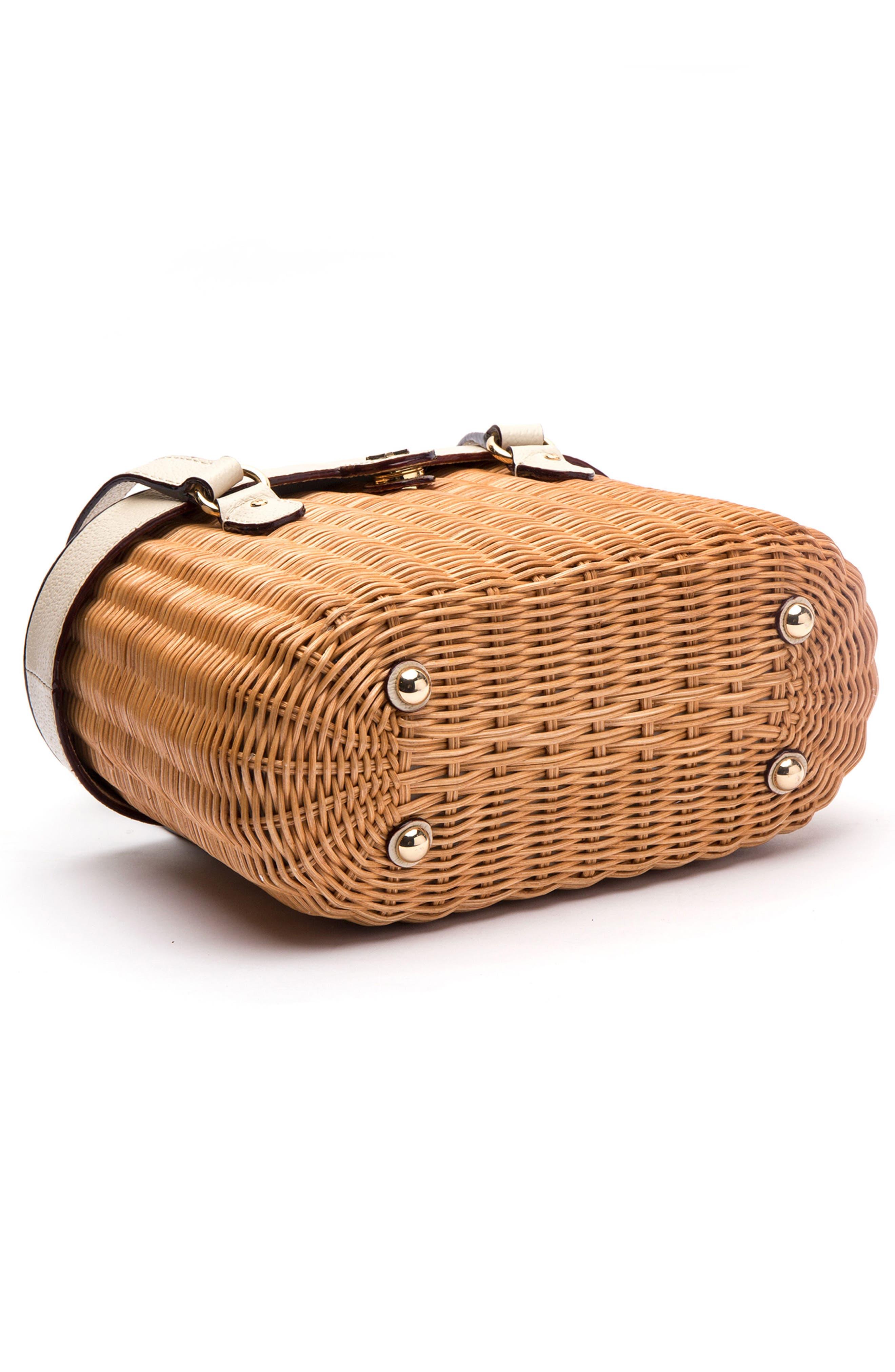 Wicker Basket Shoulder Bag,                             Alternate thumbnail 4, color,                             Natural/ Oyster