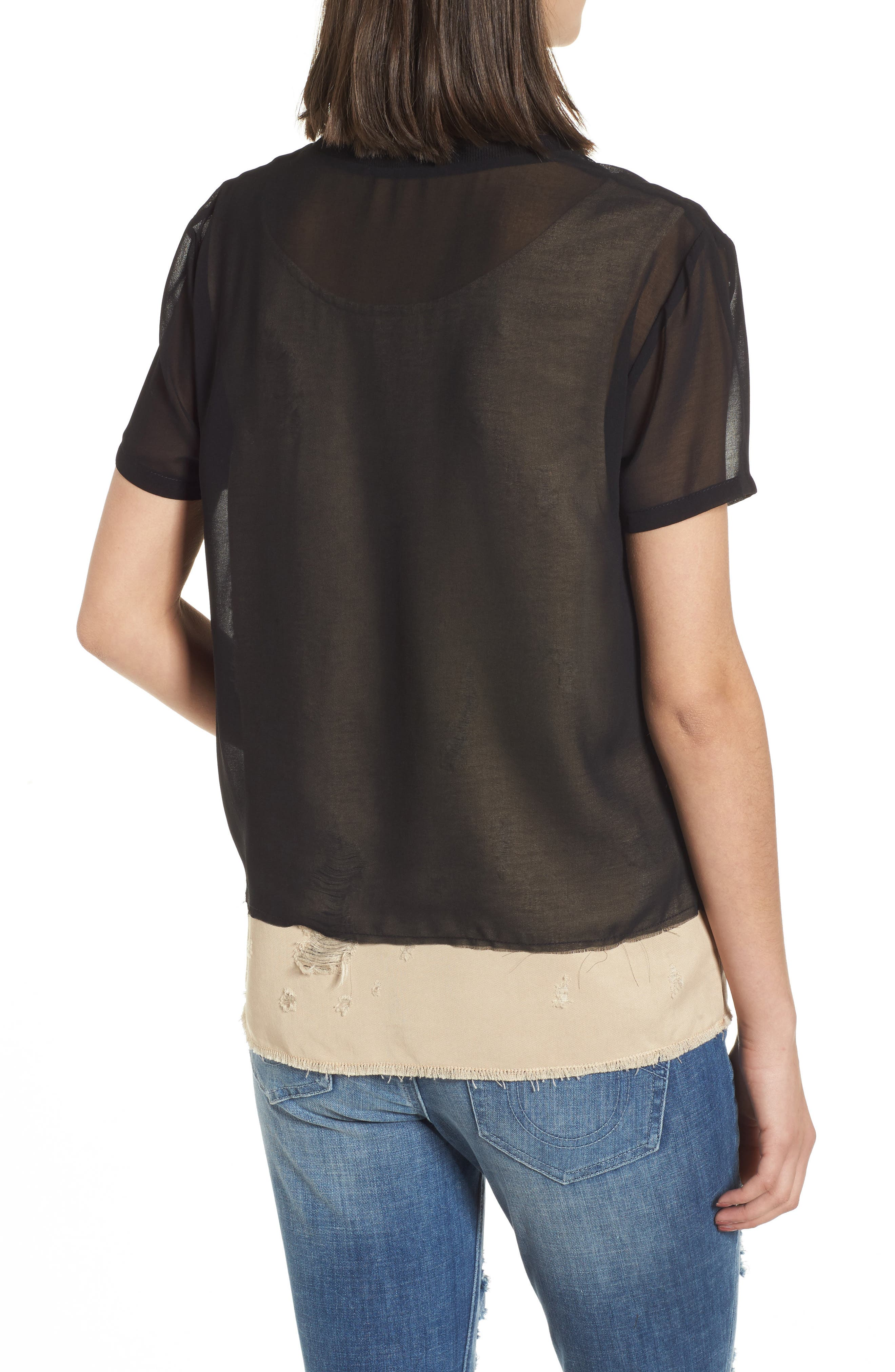 Mixed Media Layered Top,                             Alternate thumbnail 2, color,                             Beige