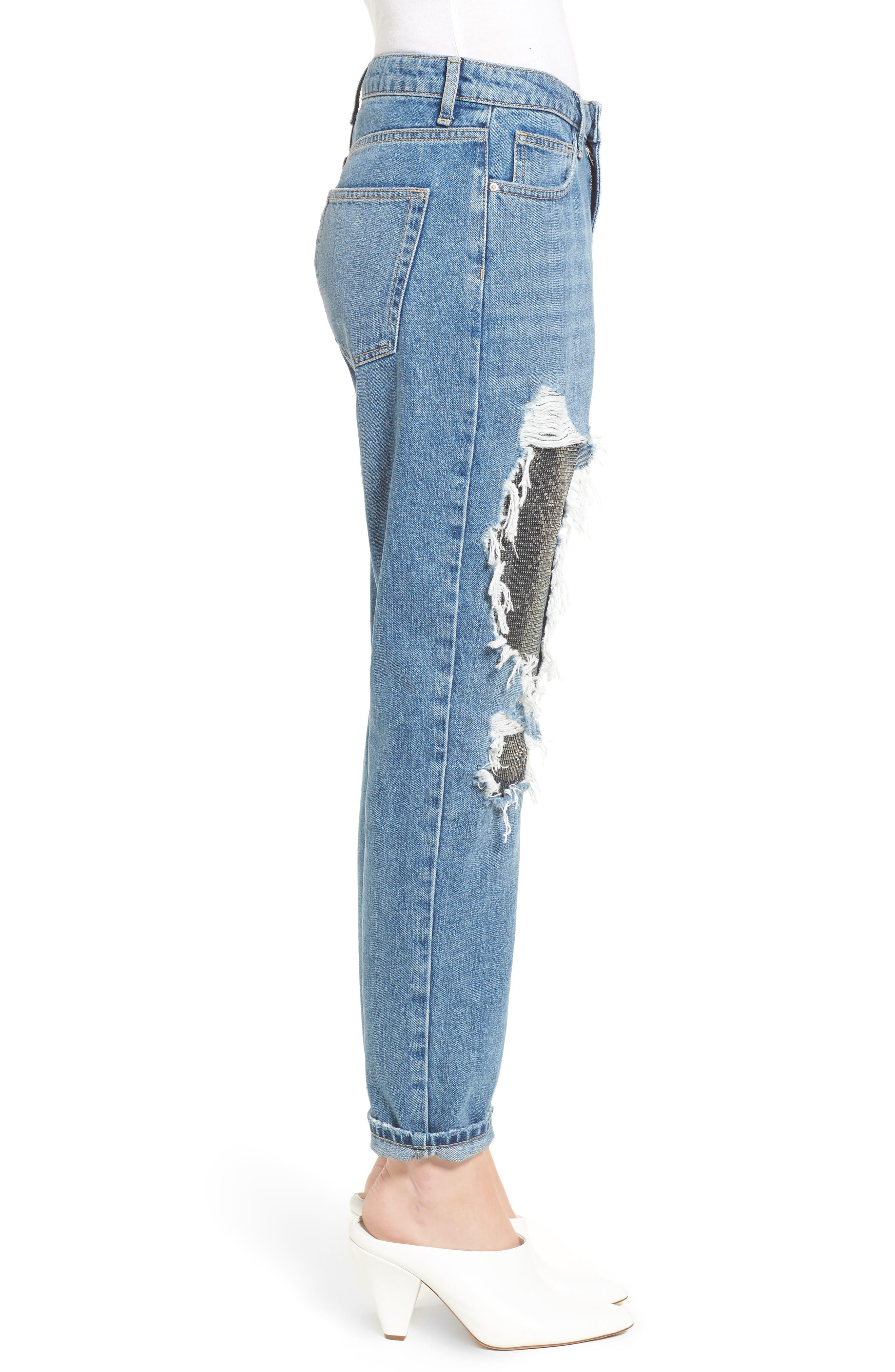 Chain Mail Boyfriend Jeans,                             Alternate thumbnail 4, color,                             Light Denim Multi