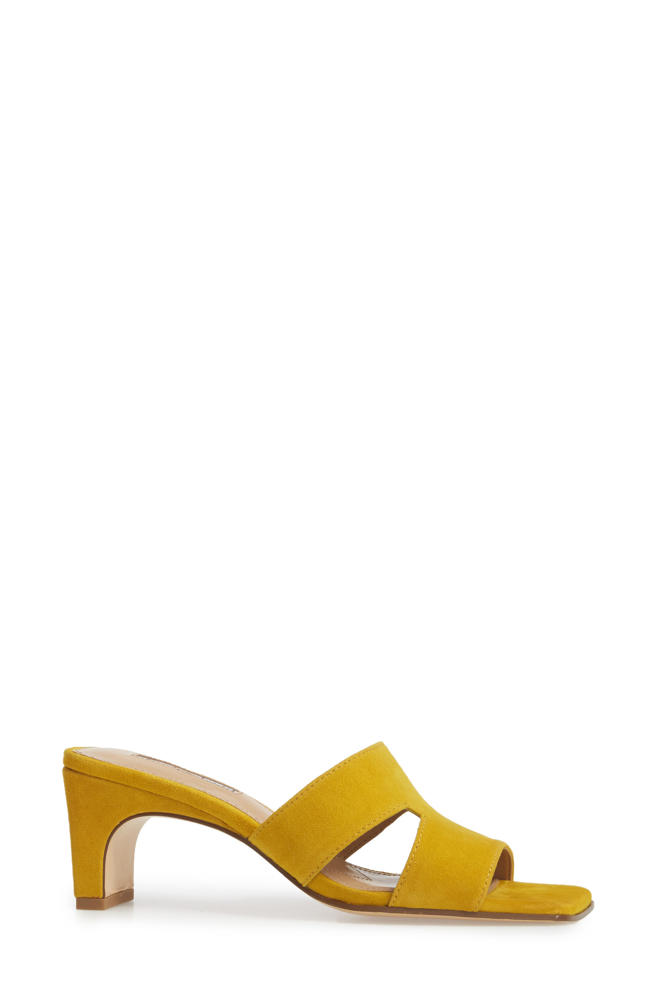 Harley Slide Sandal,                             Alternate thumbnail 3, color,                             Bright Yellow Suede