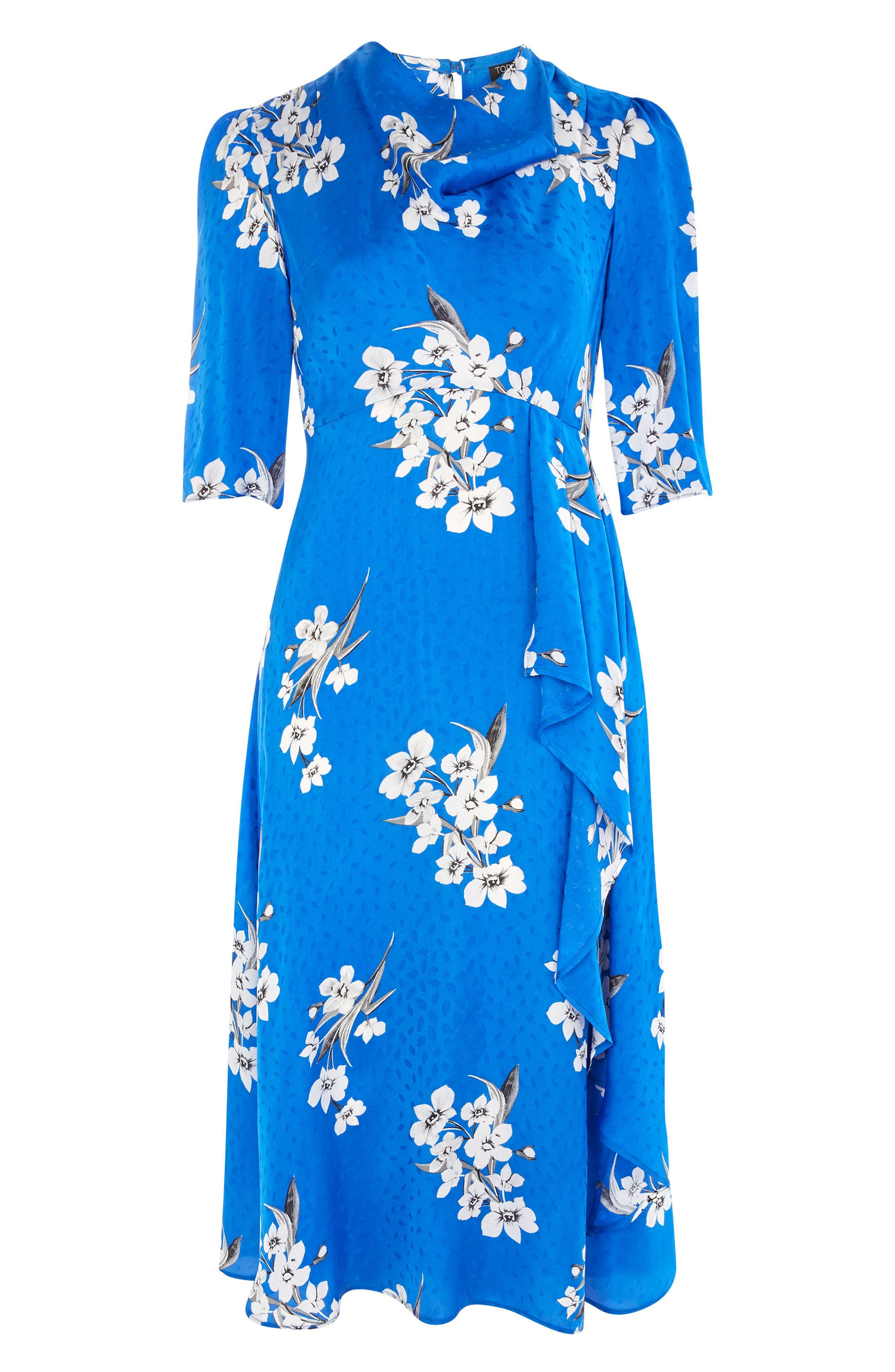 Floral Print Midi Dress,                             Alternate thumbnail 4, color,                             Cobalt Multi