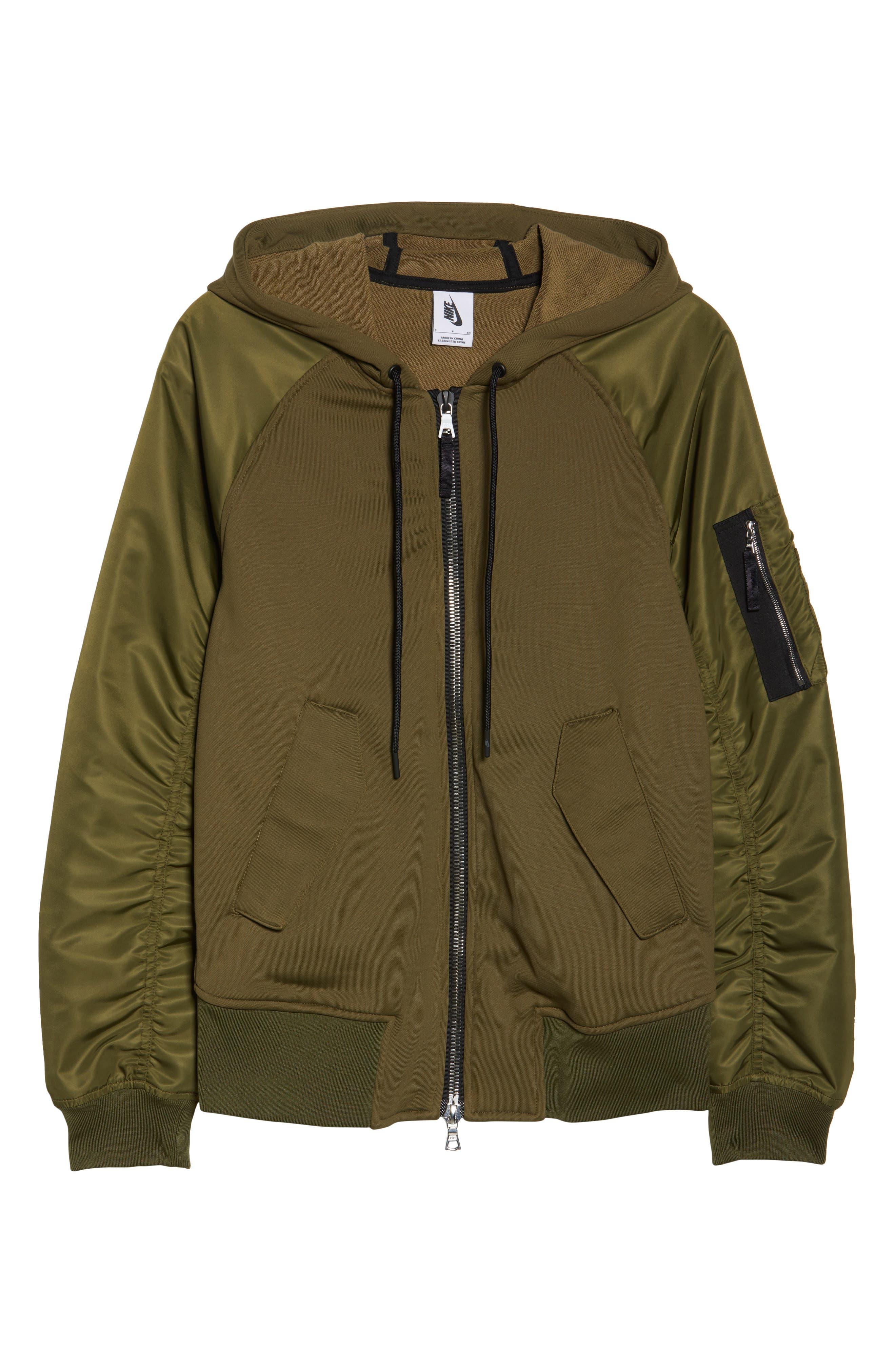 NikeLab Women's Mixed Media Bomber Jacket,                             Alternate thumbnail 6, color,                             Olive Canvas/ Black