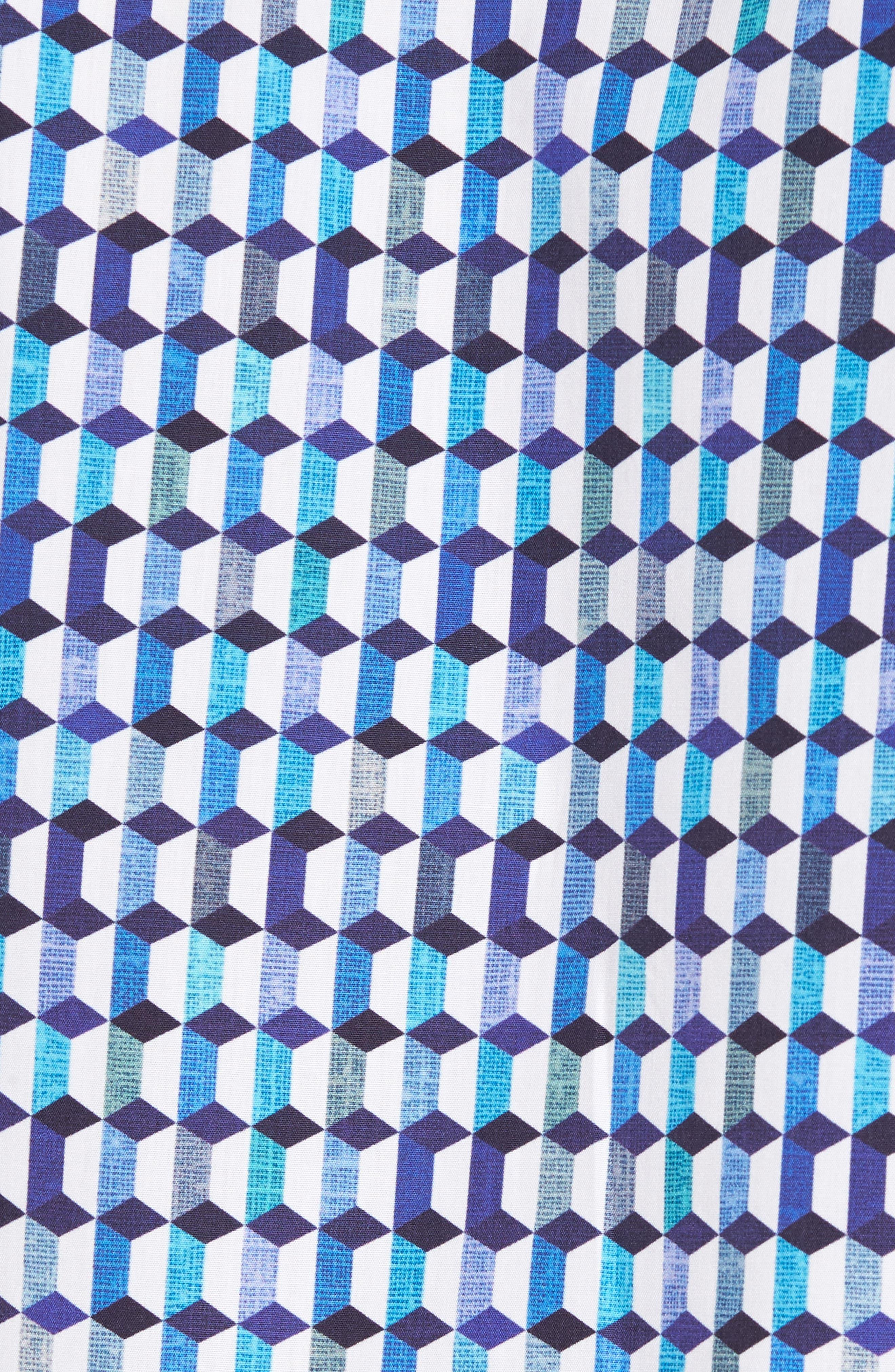 Shaped Fit Geo Print Sport Shirt,                             Alternate thumbnail 5, color,                             Turquoise