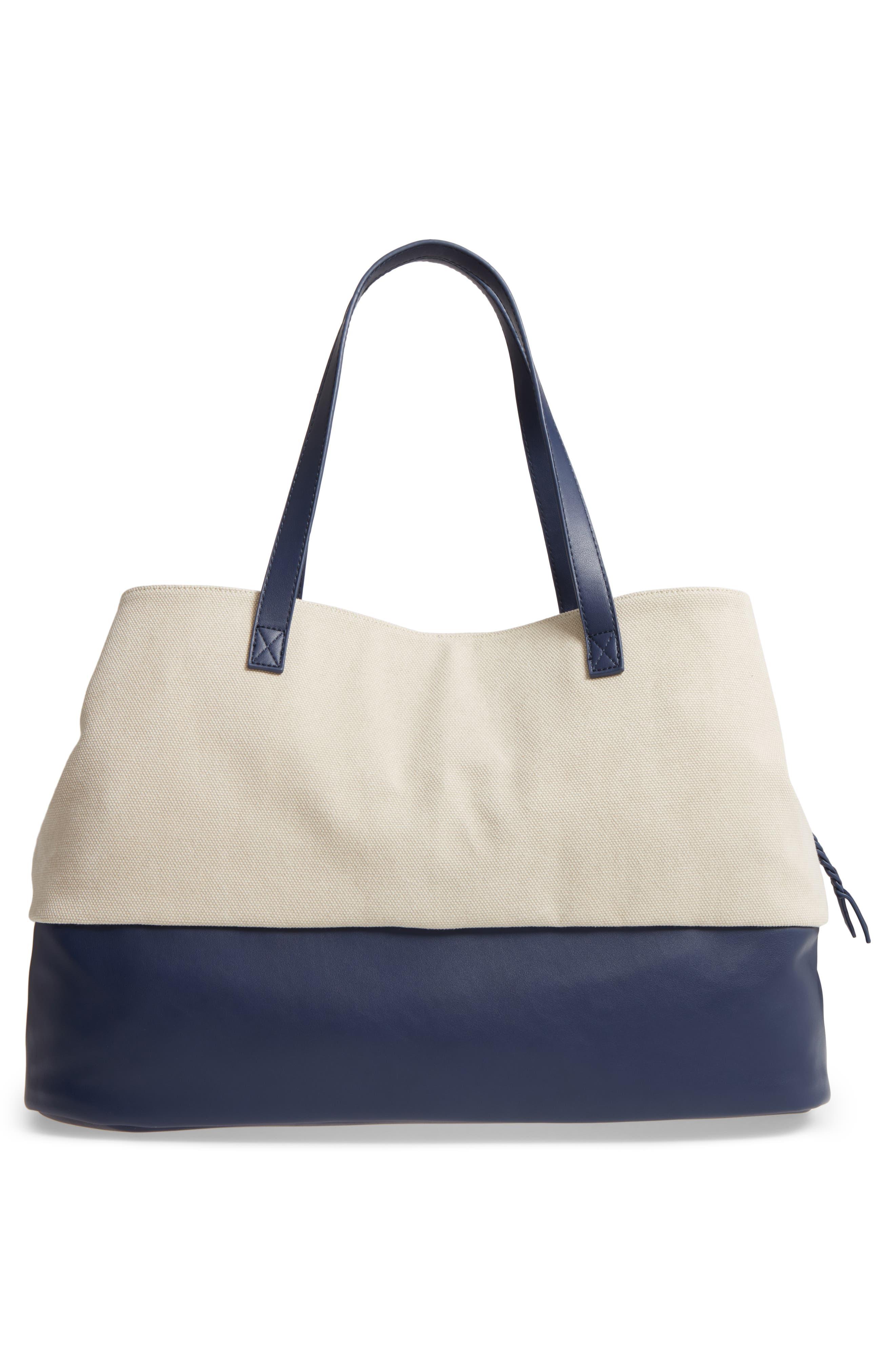 Two Toned Weekender Bag,                             Alternate thumbnail 3, color,                             Cream/ Navy