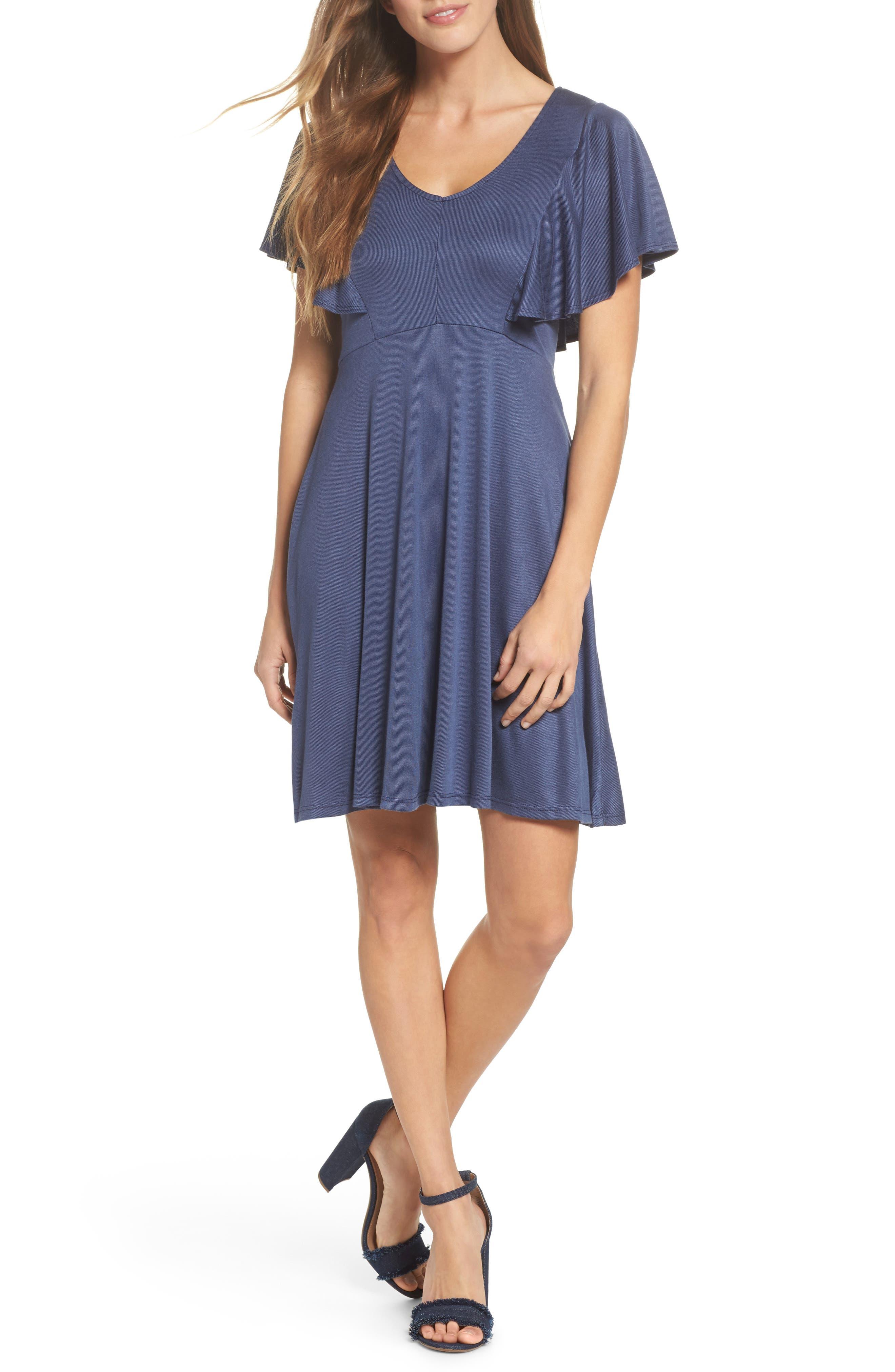 Flutter Sleeve Knit Dress,                         Main,                         color, Denim Blue