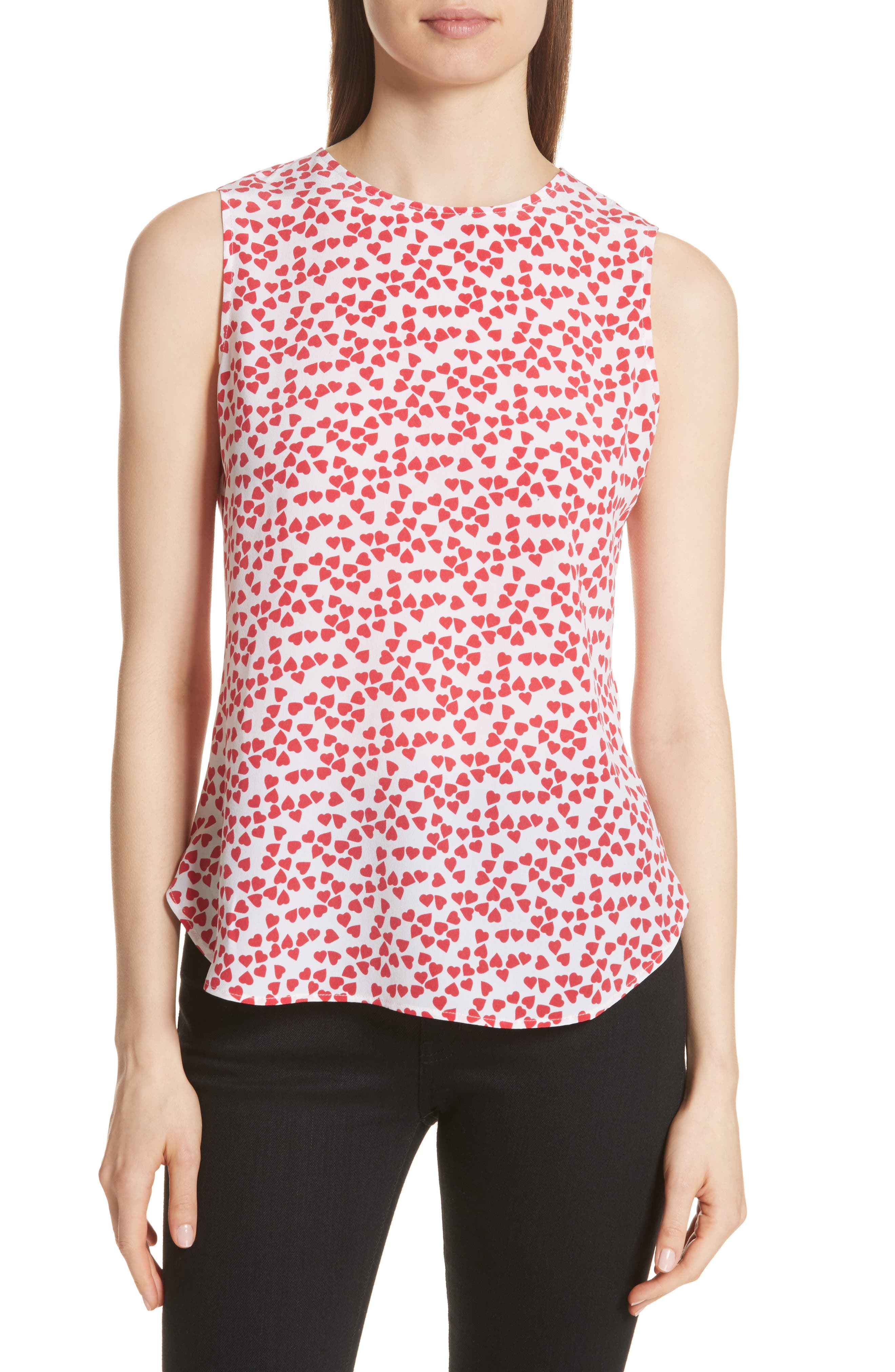 Lyle Print Silk Sleeveless Top,                         Main,                         color, Bright White-Charged Pink
