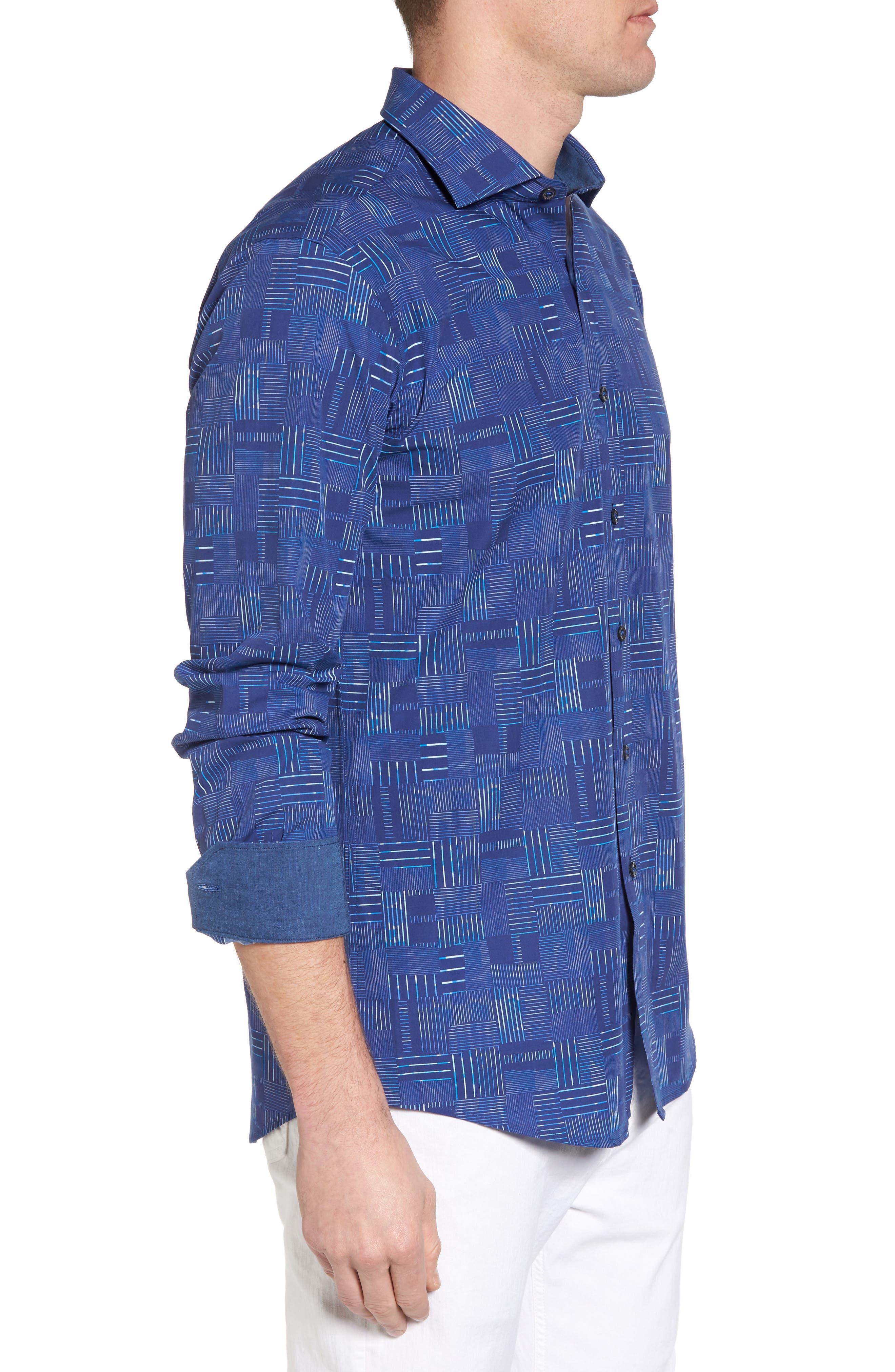Shaped Fit Patchwork Plaid Sport Shirt,                             Alternate thumbnail 4, color,                             Classic Blue